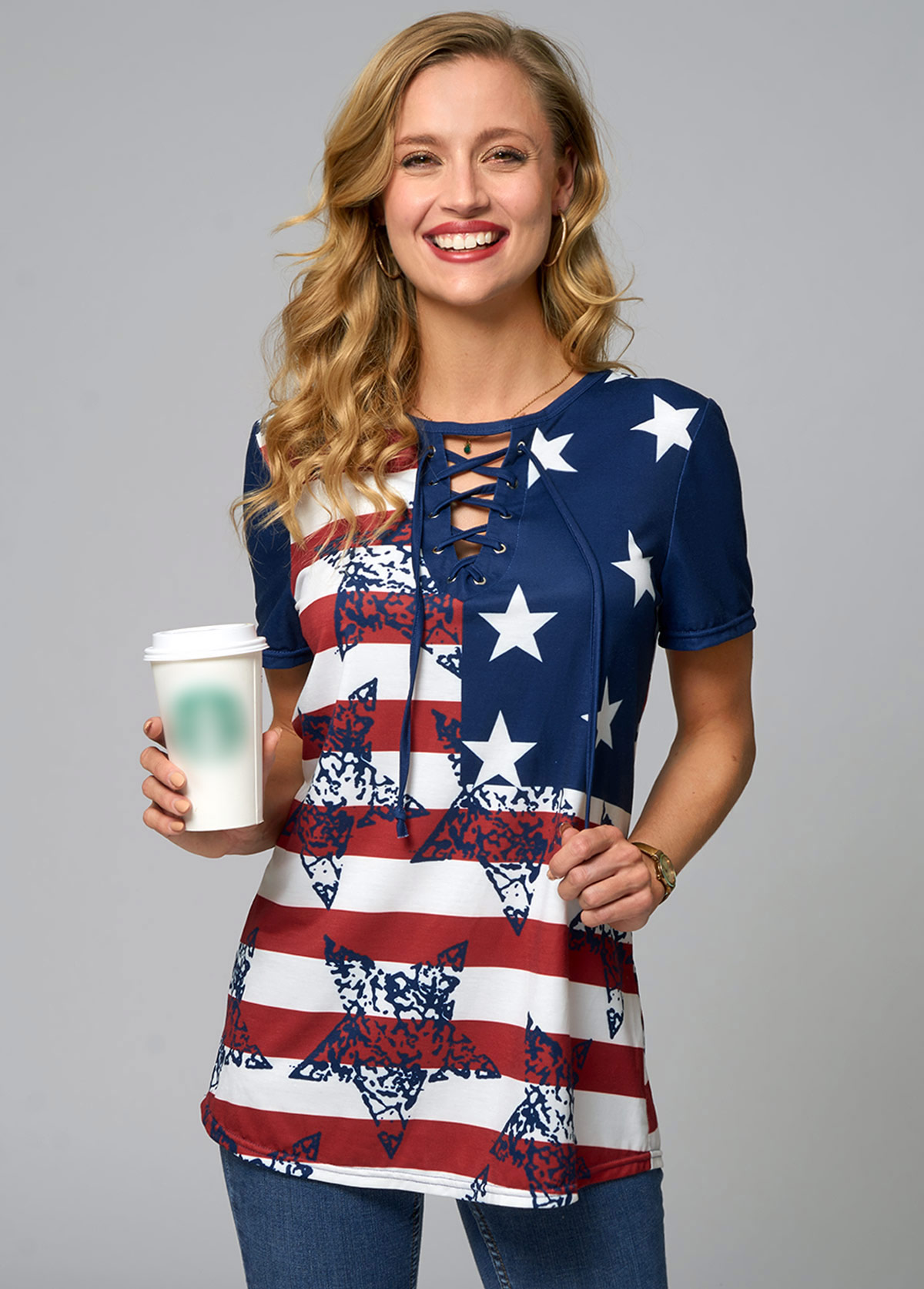 ROTITA Lace Up American Flag Print T Shirt