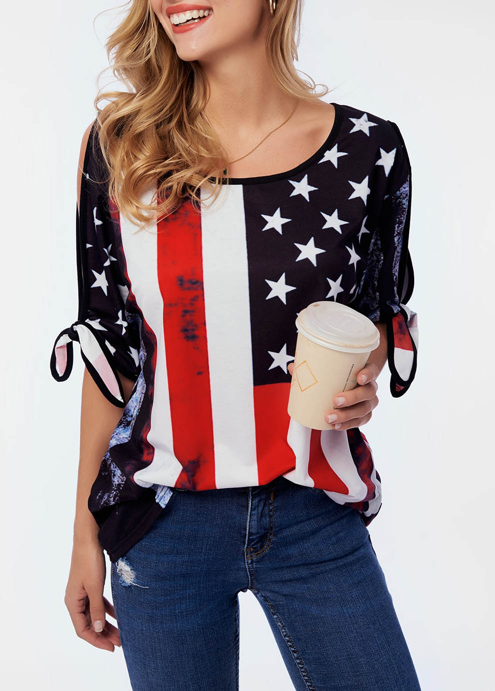 ROTITA Cold Shoulder American Flag Print T Shirt