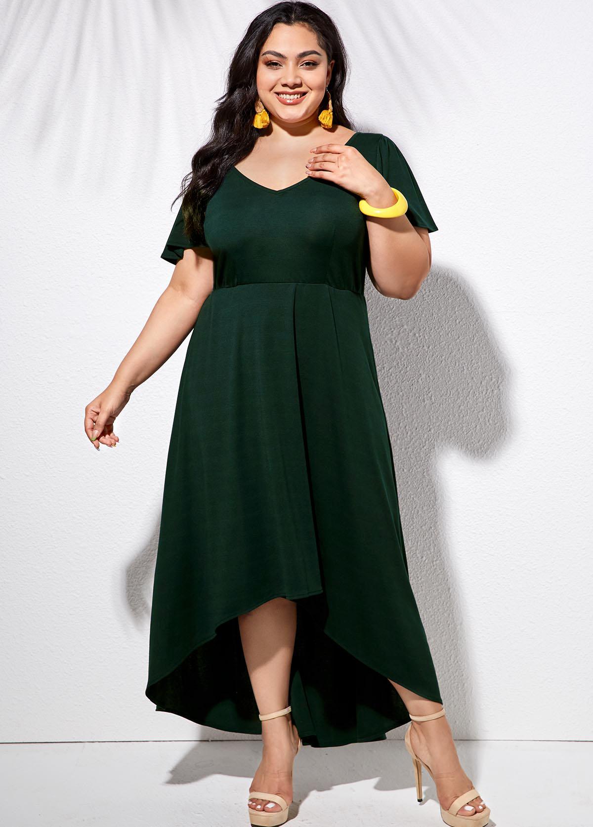 ROTITA V Neck Plus Size Ruffle Sleeve Dress