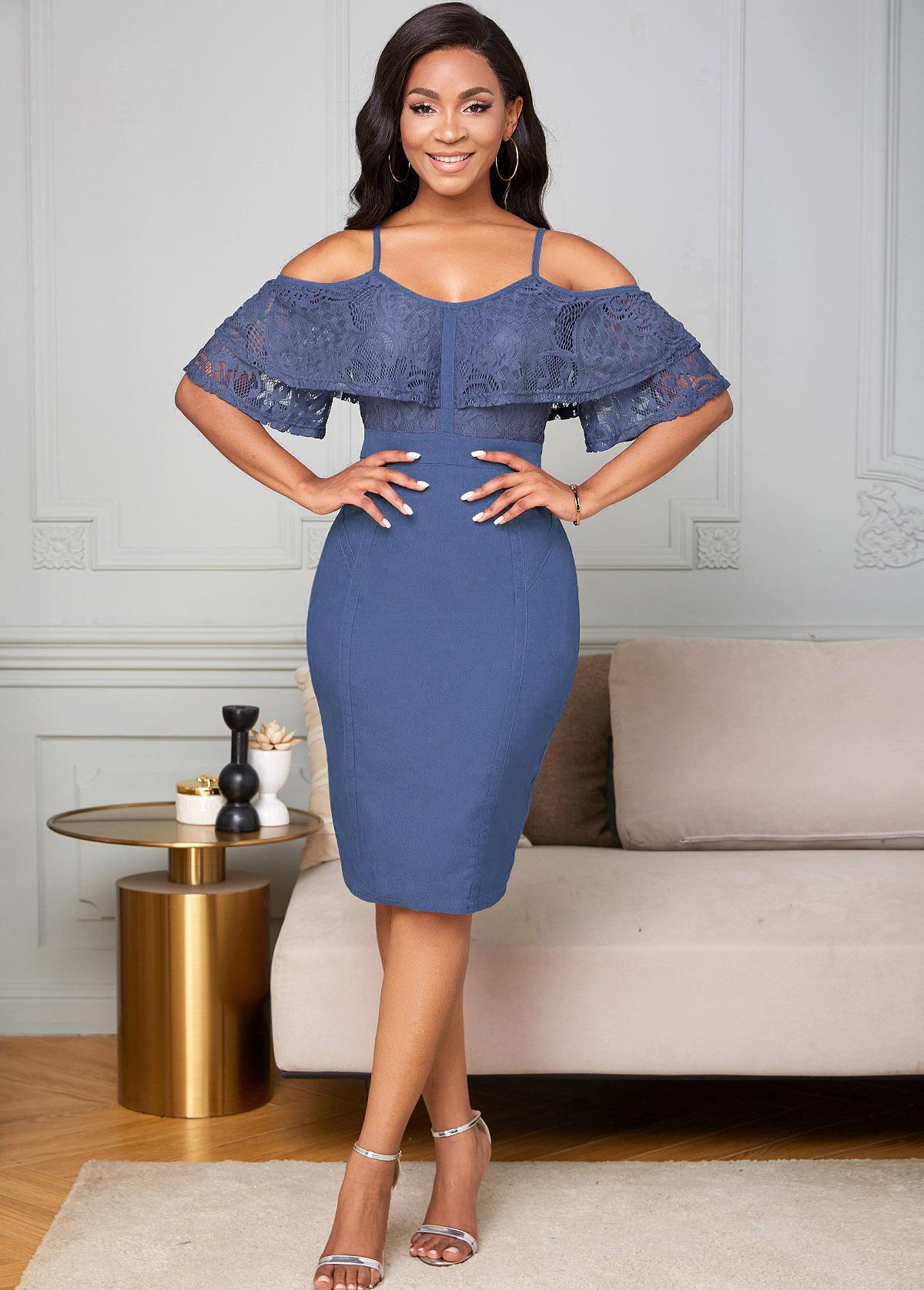 ROTITA Lace Panel Strappy Cold Shoulder Bodycon Dress