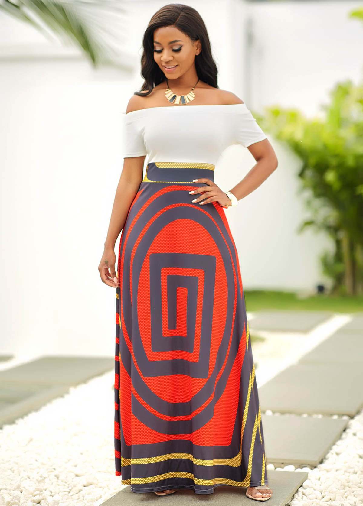 ROTITA Off Shoulder Short Sleeve Geometric Print Dress