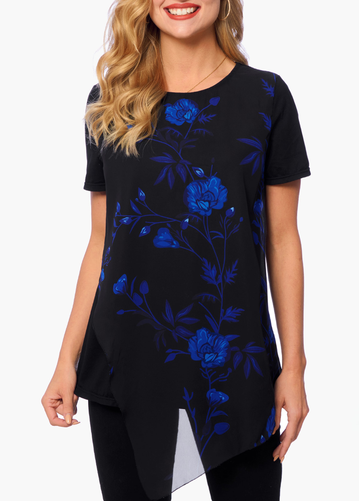 ROTITA Asymmetric Hem Short Sleeve Floral Print T Shirt