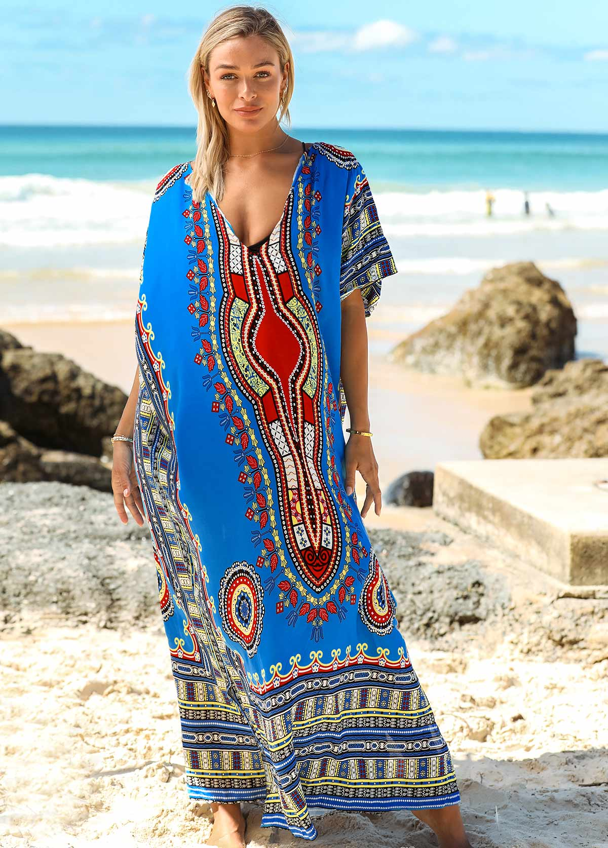 3/4 Sleeve Tribal Print Cover Up