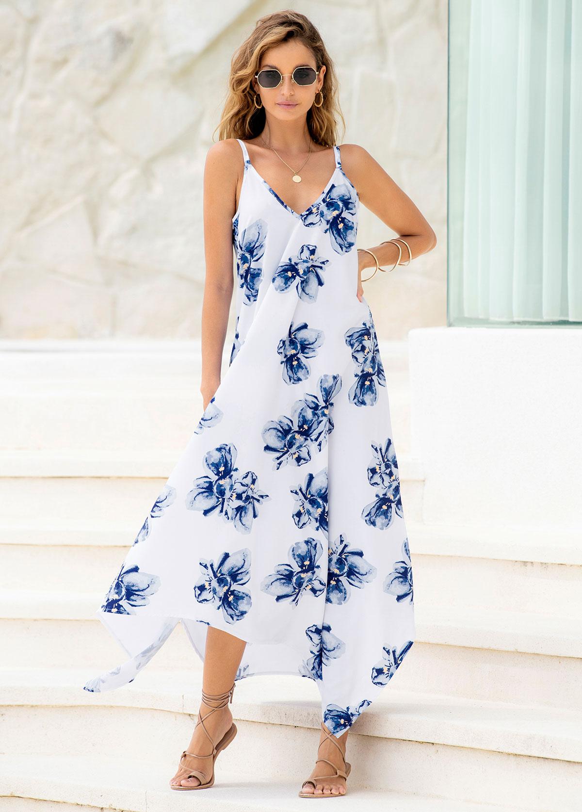 ROTITA Asymmetric Hem Spaghetti Strap Floral Print Dress