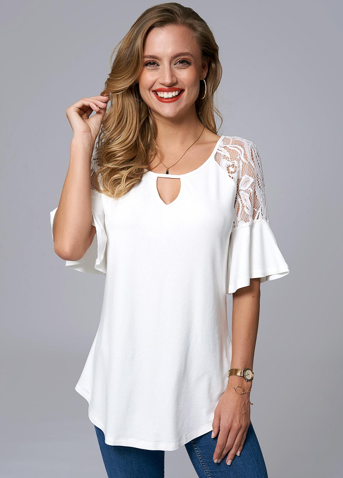 ROTITA Lace Stitching Keyhole Neckline Flare Sleeve T Shirt