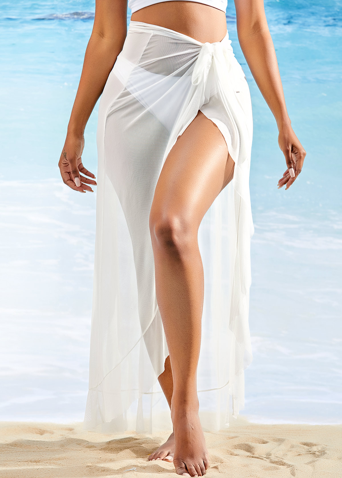 ROTITA Side Slit Asymmetric Hem One Piece Beach Skirt