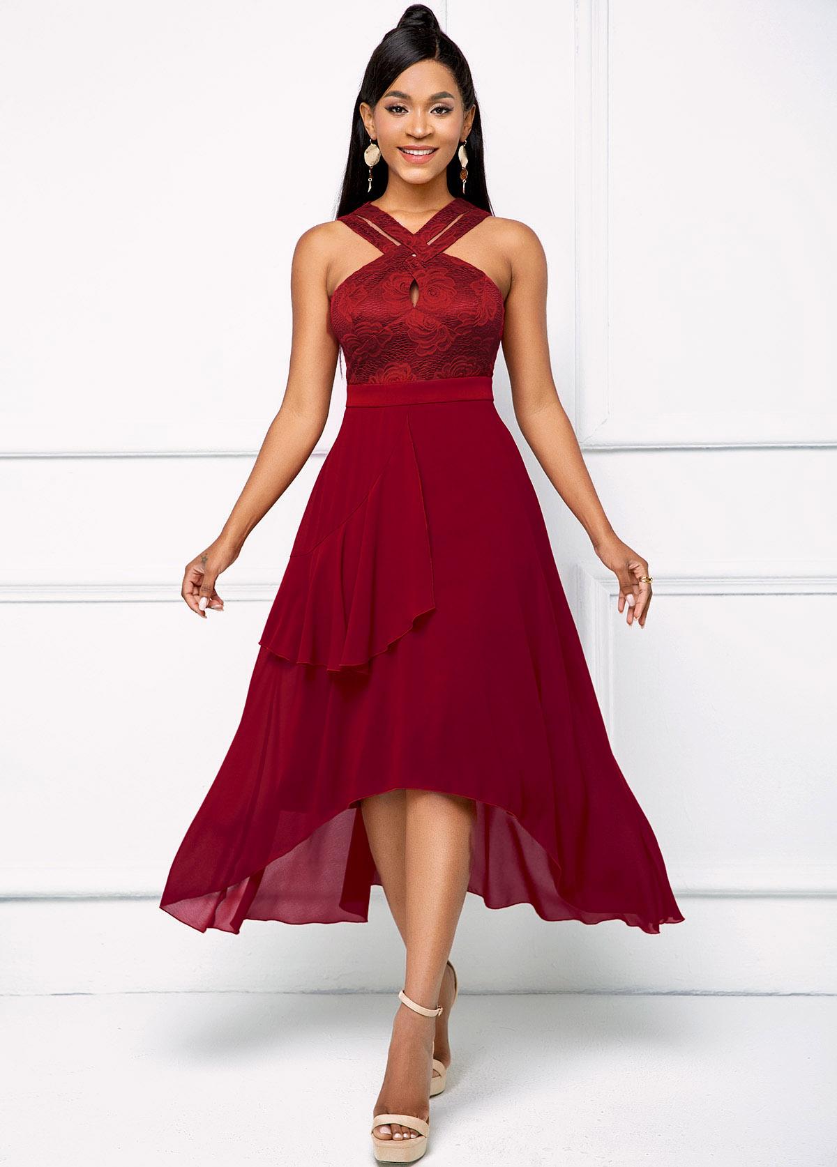 ROTITA Mesh Asymmetric Hem Keyhole Neckline Dress