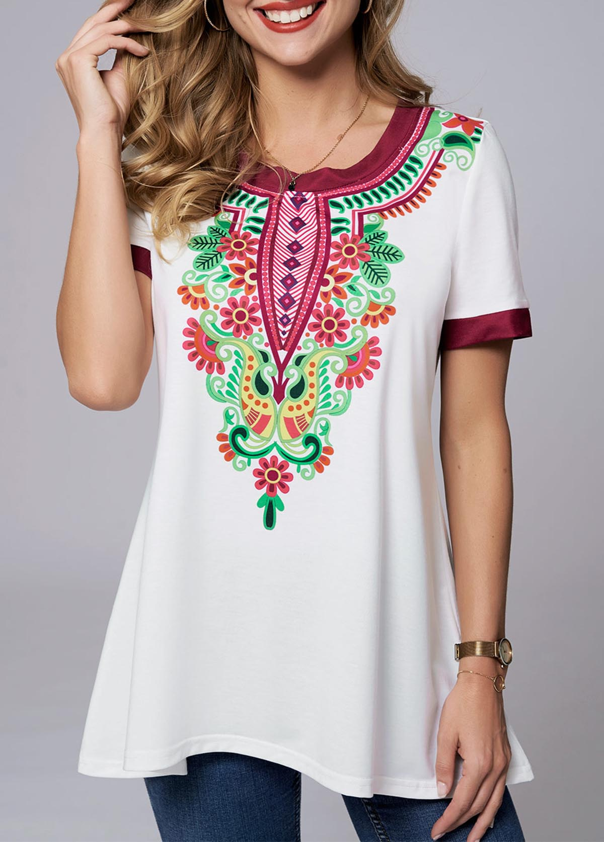 ROTITA Round Neck Short Sleeve Tribal Print T Shirt
