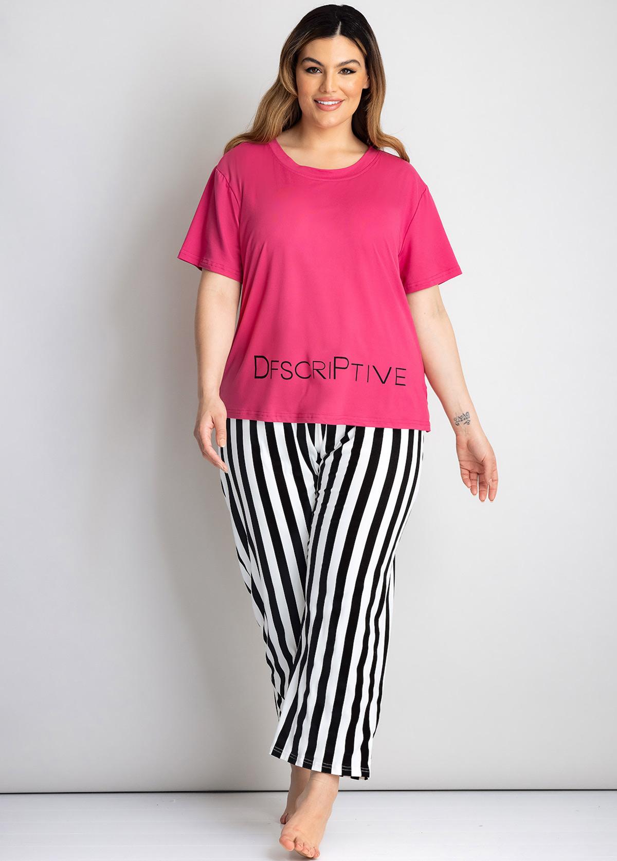 Stripe and Letter Print Plus Size Loungewear Set