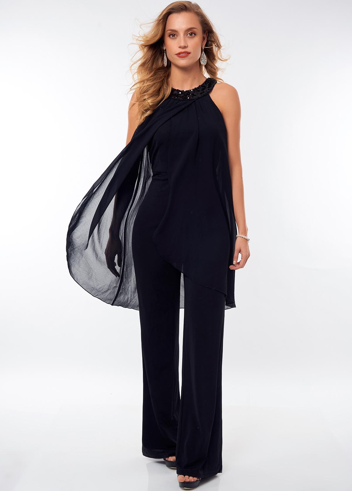 ROTITA Sequin Bib Neck Solid Sleeveless Jumpsuit