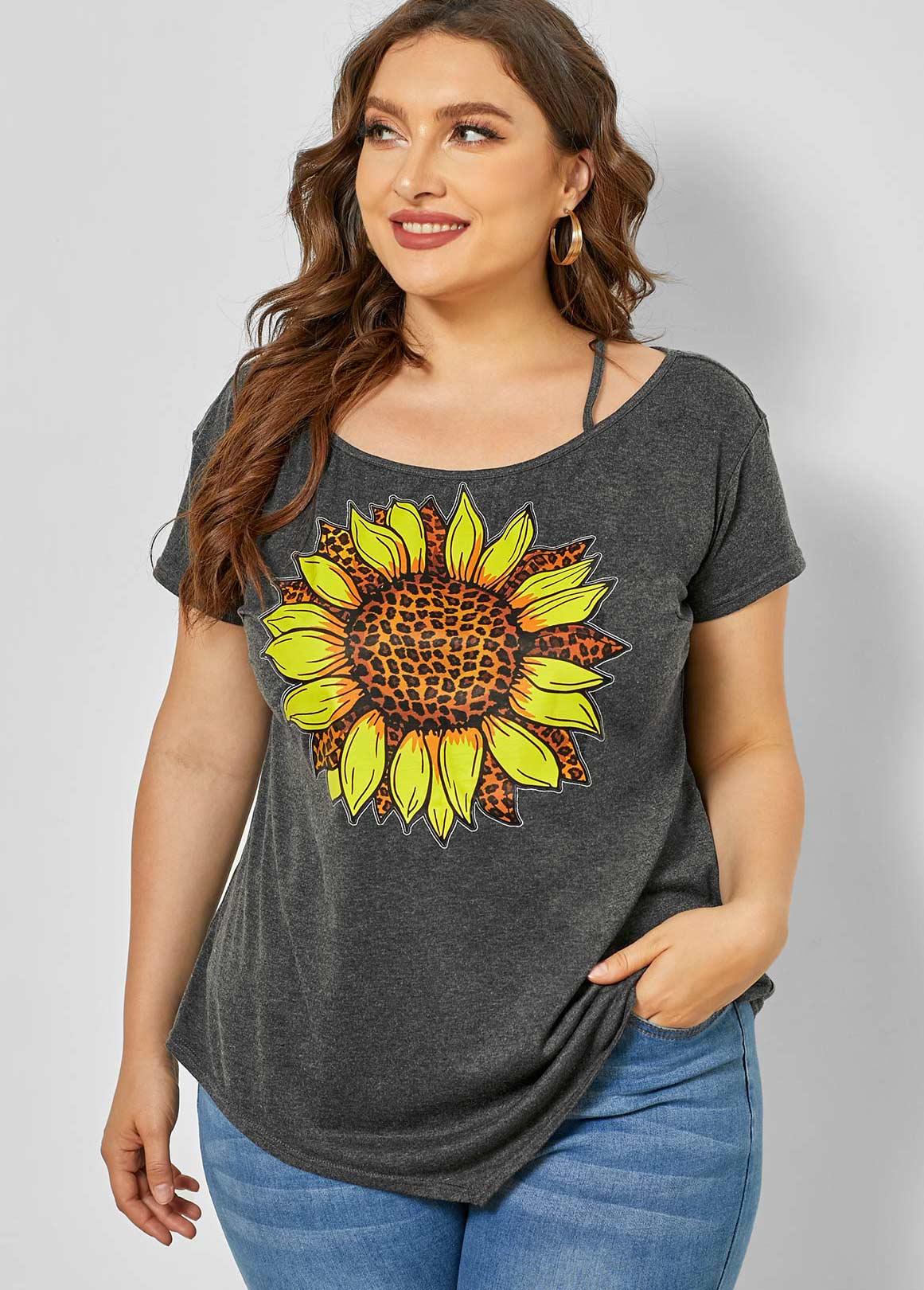 ROTITA Sunflower Print Plus Size Asymmetric Hem T Shirt