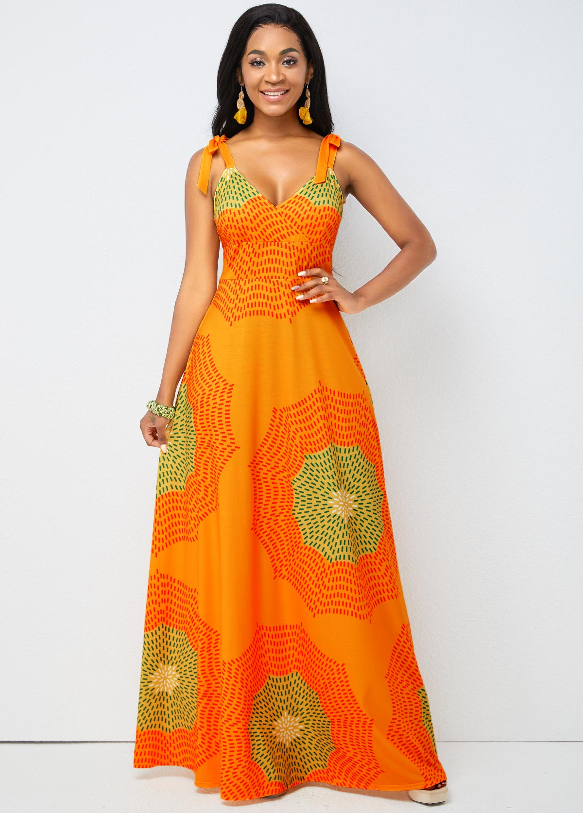 ROTITA Tie Shoulder Geometric Print Spaghetti Strap Dress