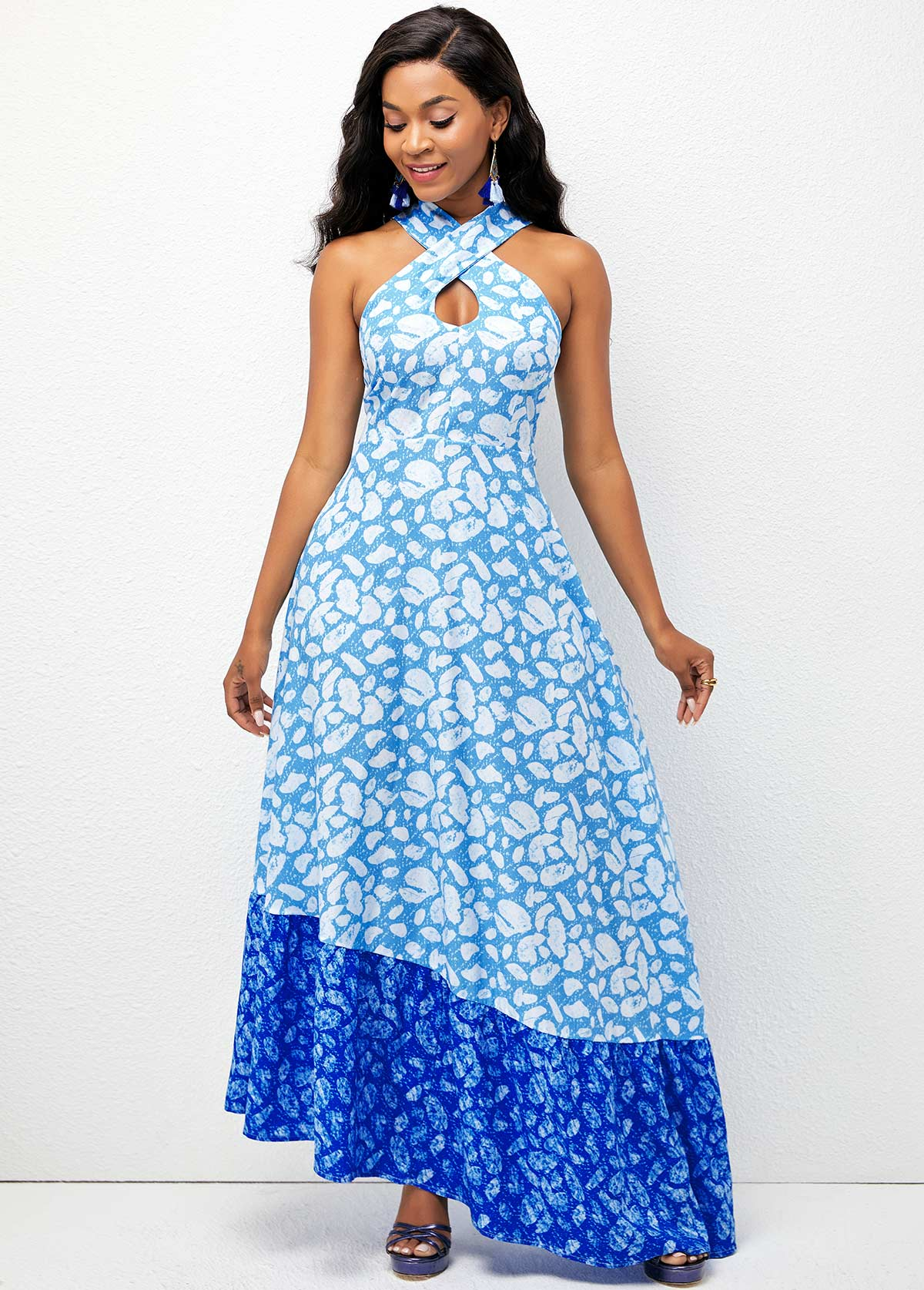 ROTITA Geometric Print Cross Strap Asymmetric Hem Dress