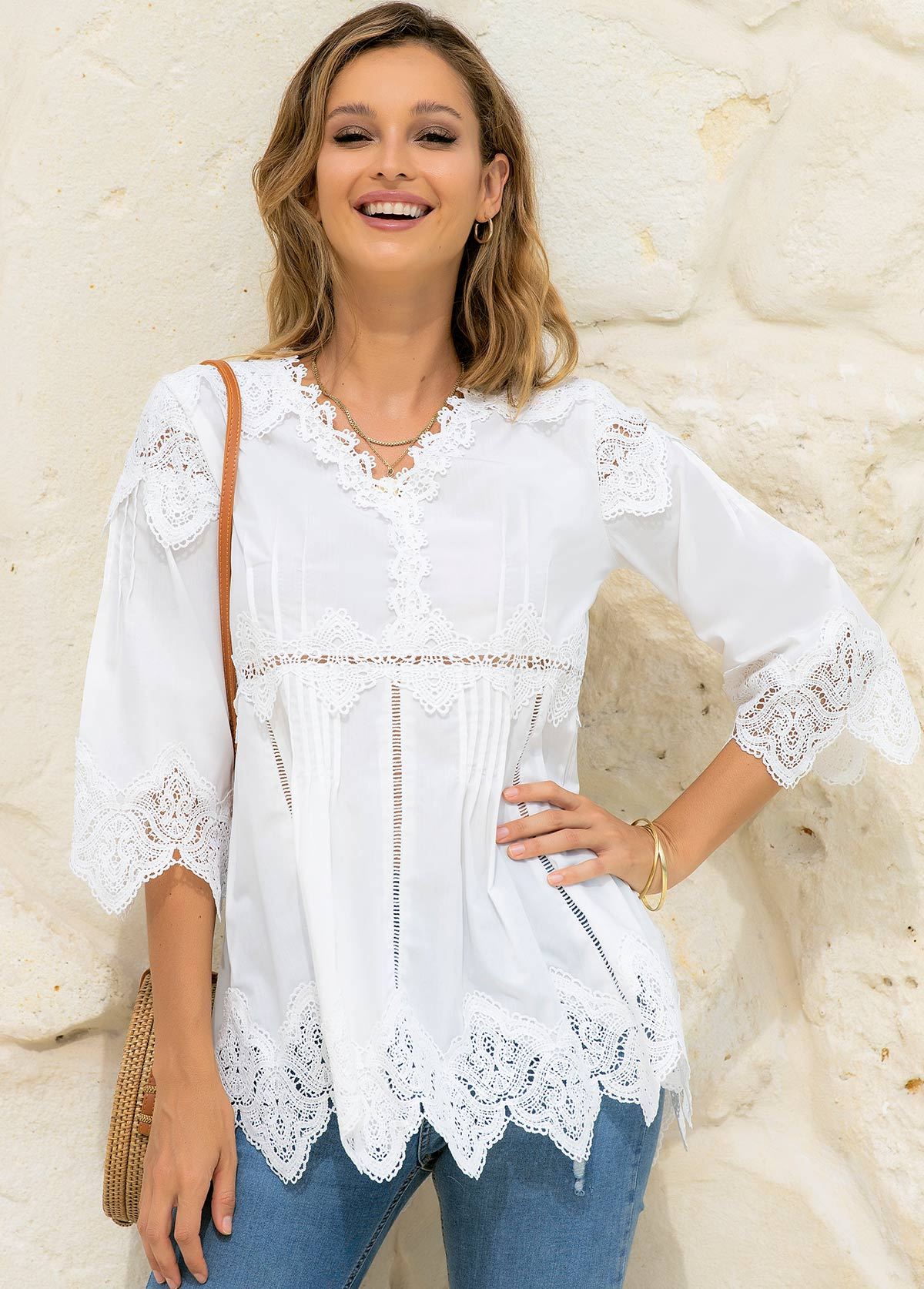 Lace Stitching V Neck Solid T Shirt