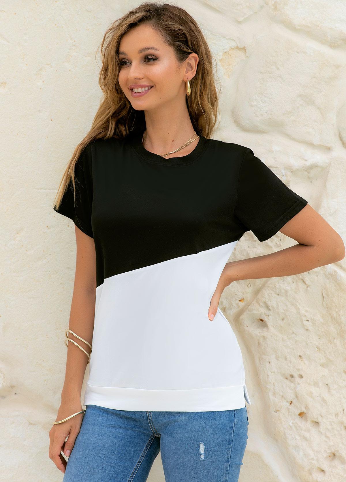 Short Sleeve Round Neck Contrast T Shirt