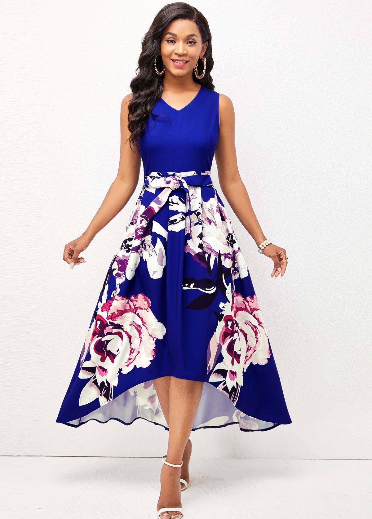 ROTITA V Neck Floral Print Dip Hem Dress