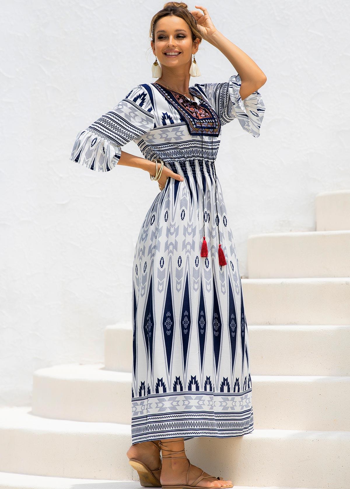 Tie Neck Tribal Print Flare Cuff Dress