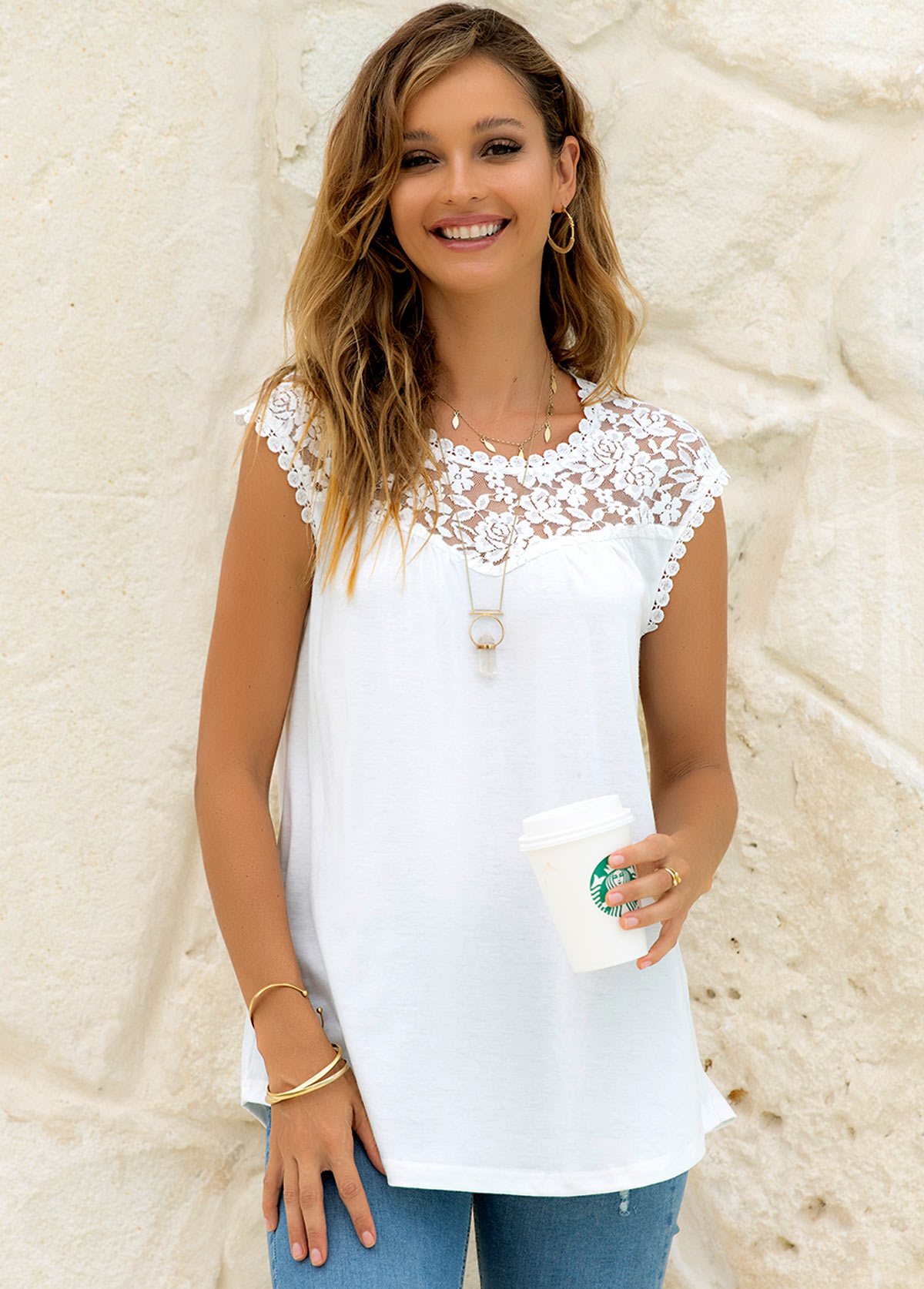 Round Neck Lace Stitching Solid Tank Top