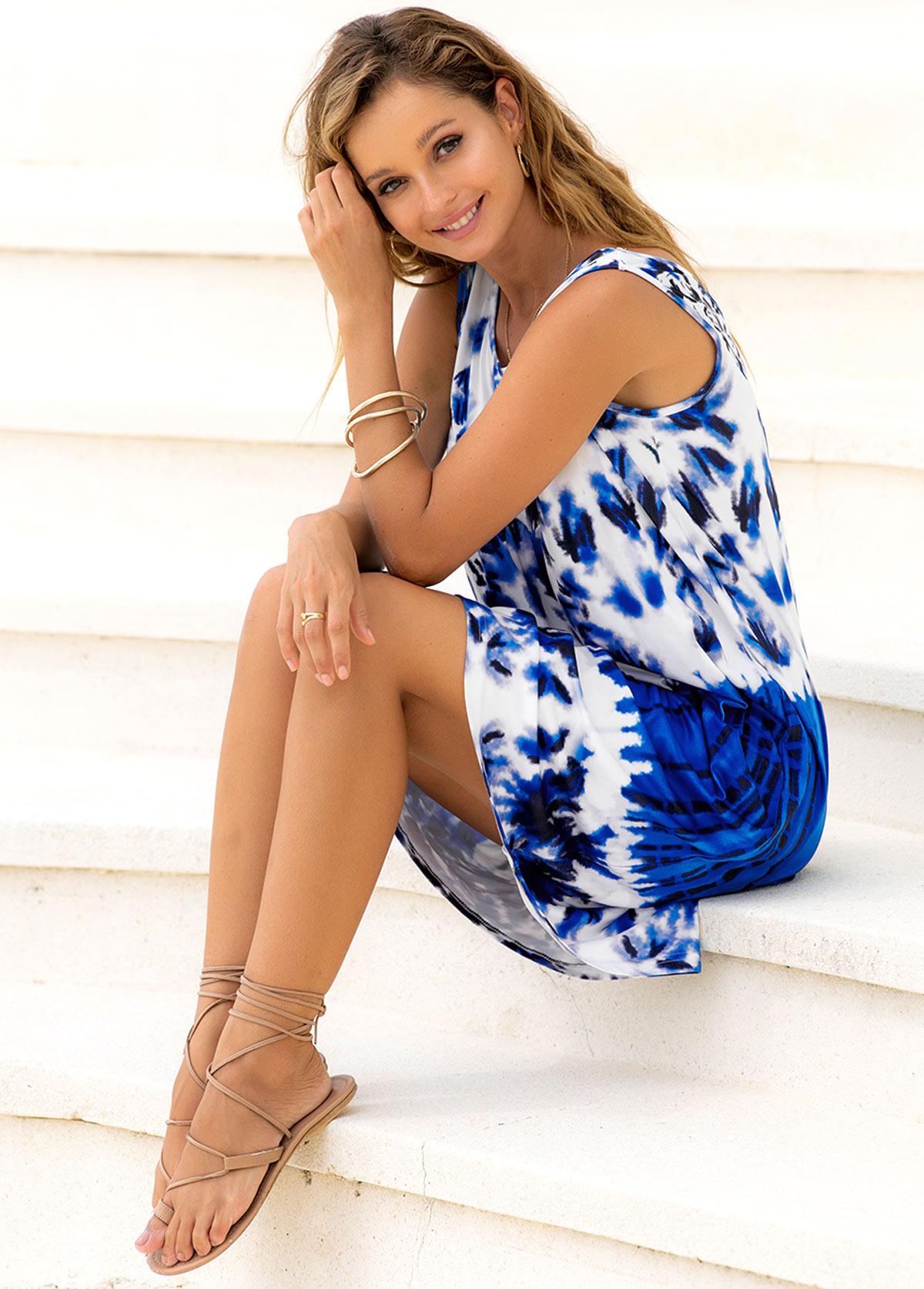 Round Neck Tie Dye Print Sleeveless Dress