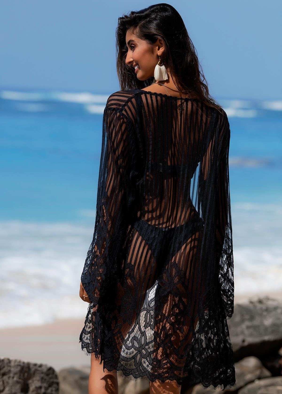 Open Front Long Sleeve Lace Cover Up