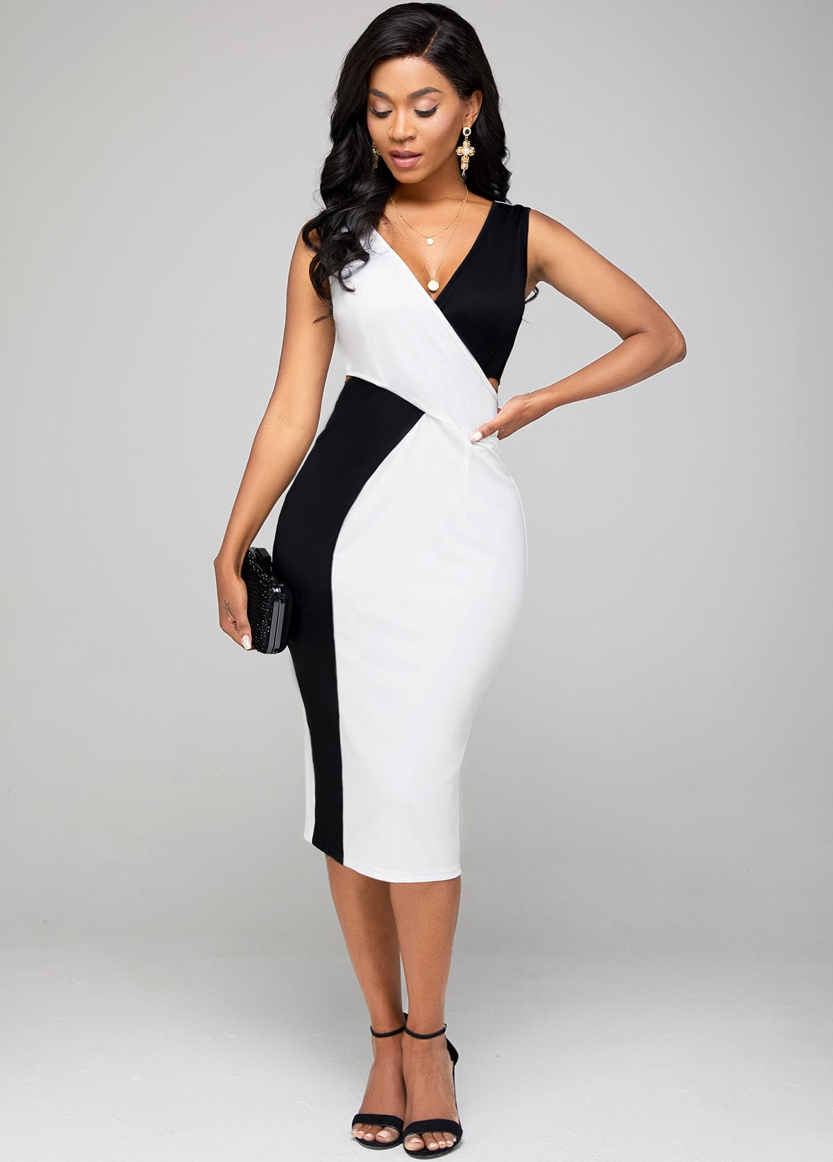 ROTITA V Neck Color Block Sleeveless Bodycon Dress