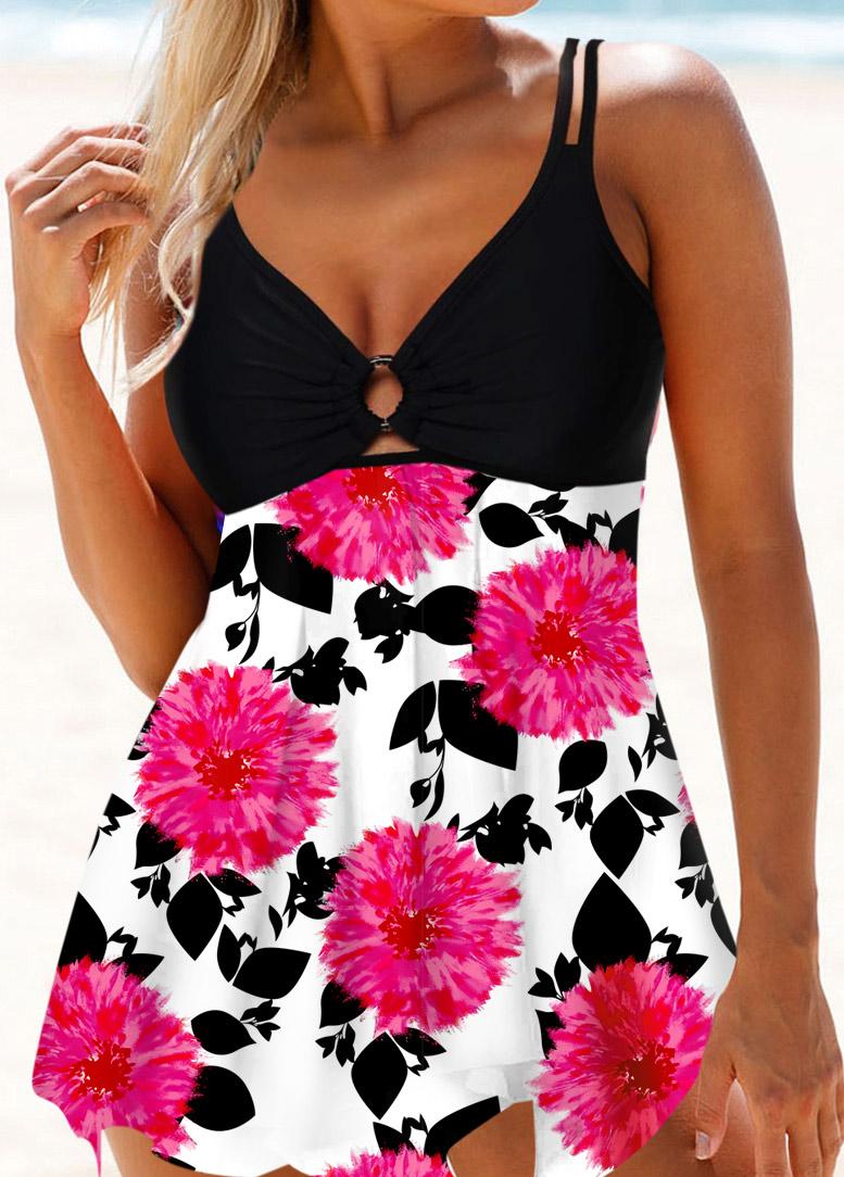 ROTITA Asymmetric Hem Floral Print Swimdress and Panty