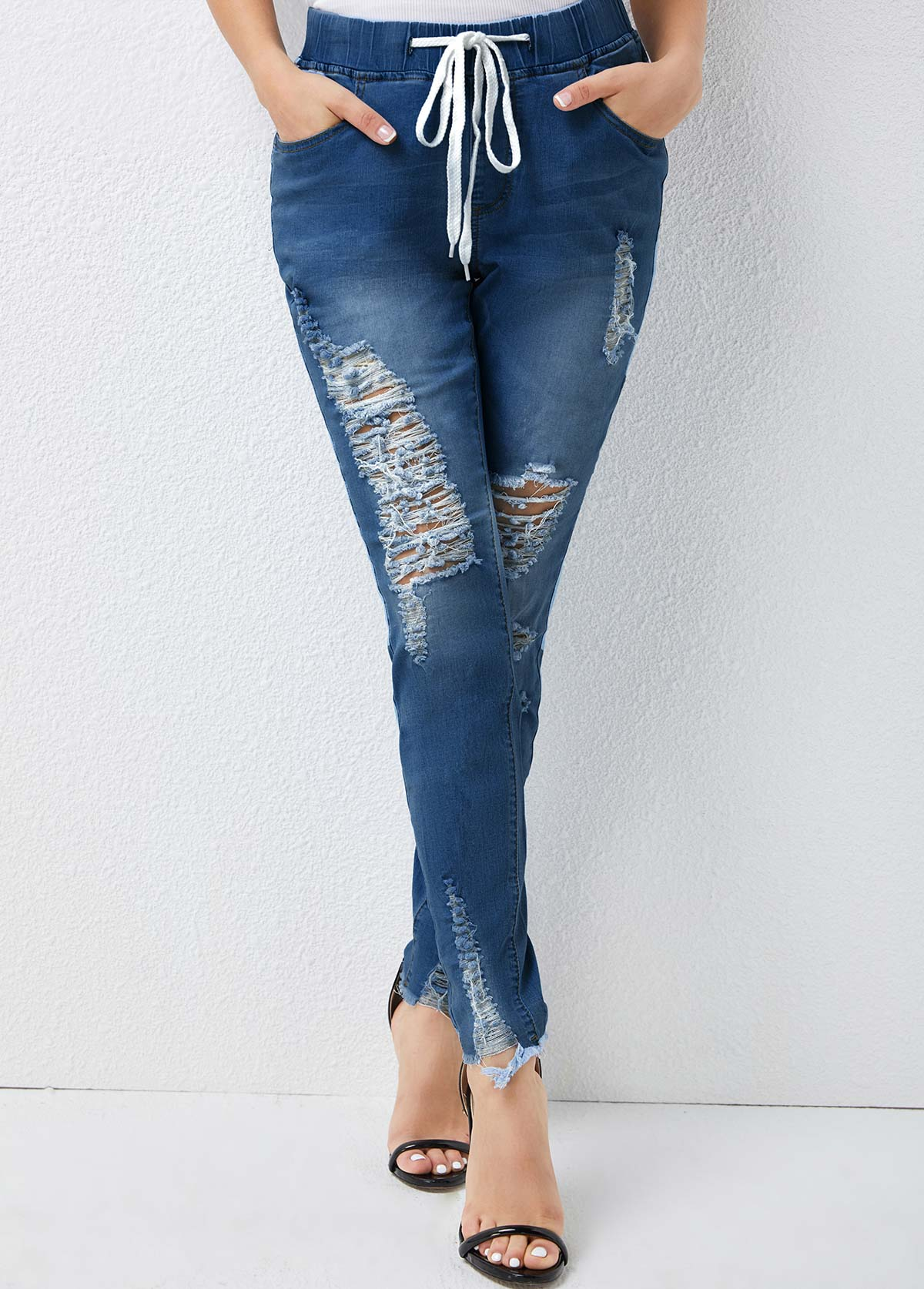 Shredded Detail High Waisted Solid Pants
