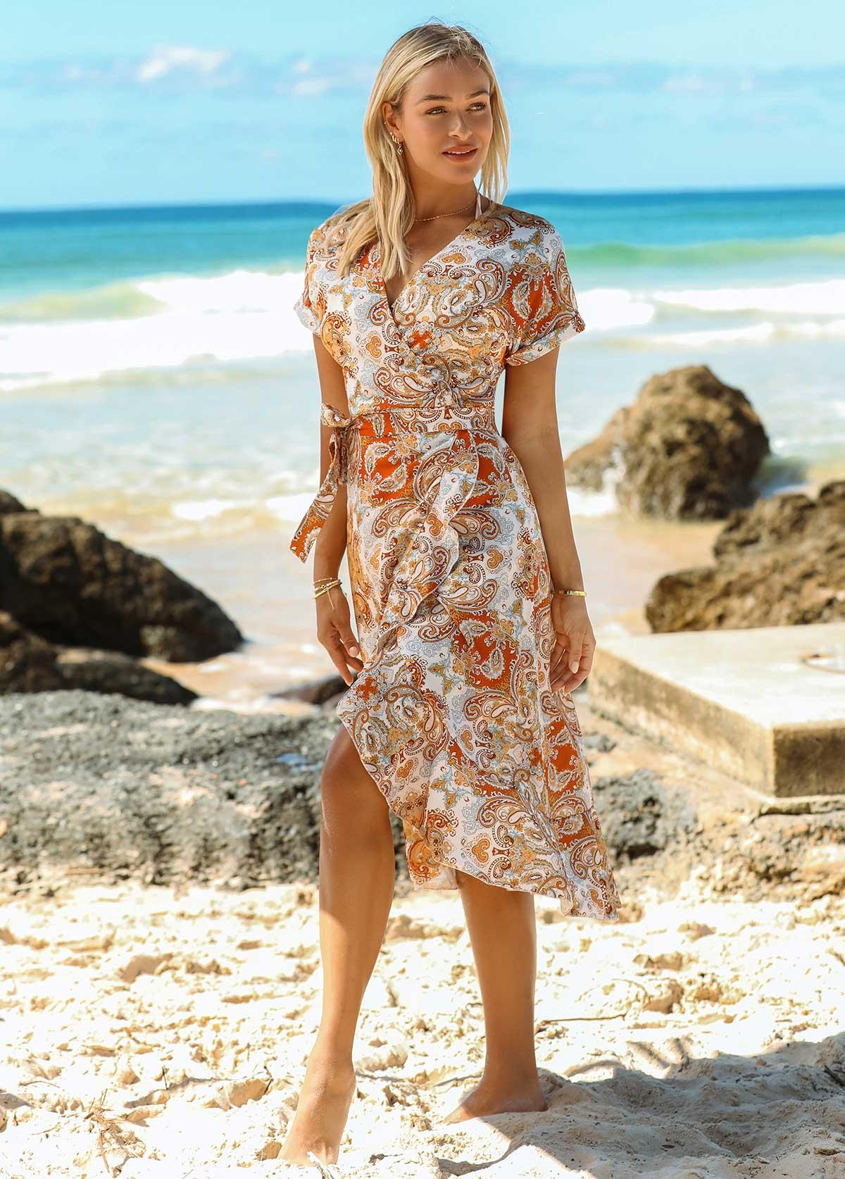Flounce V Neck Printed Short Sleeve Dress