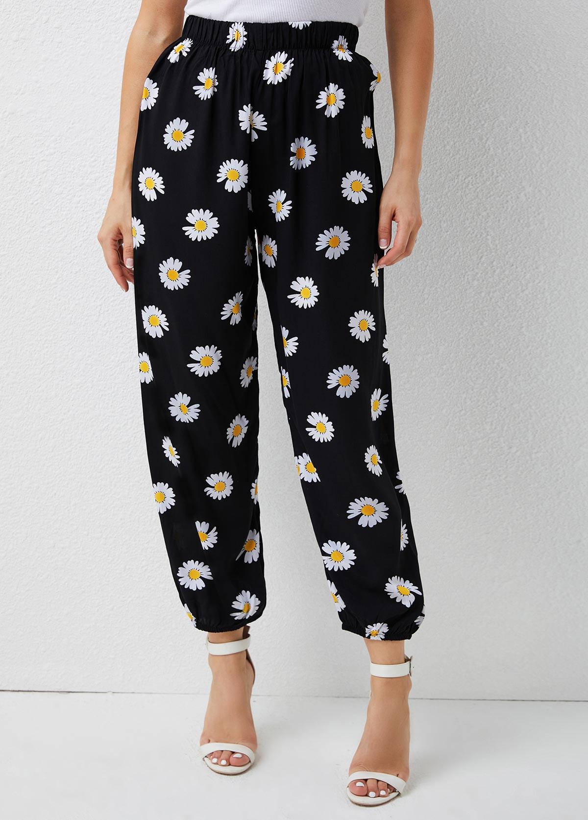 Mid Waist Daisy Print Elastic Detail Pants