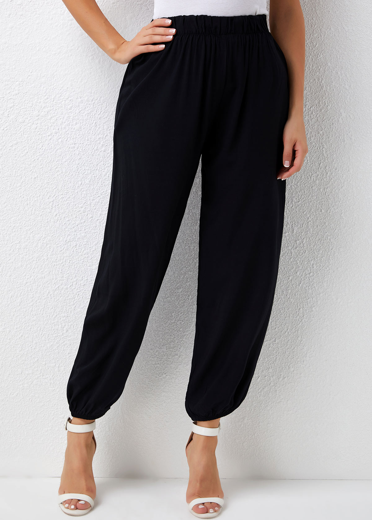 Elastic Detail Solid High Waisted Pants