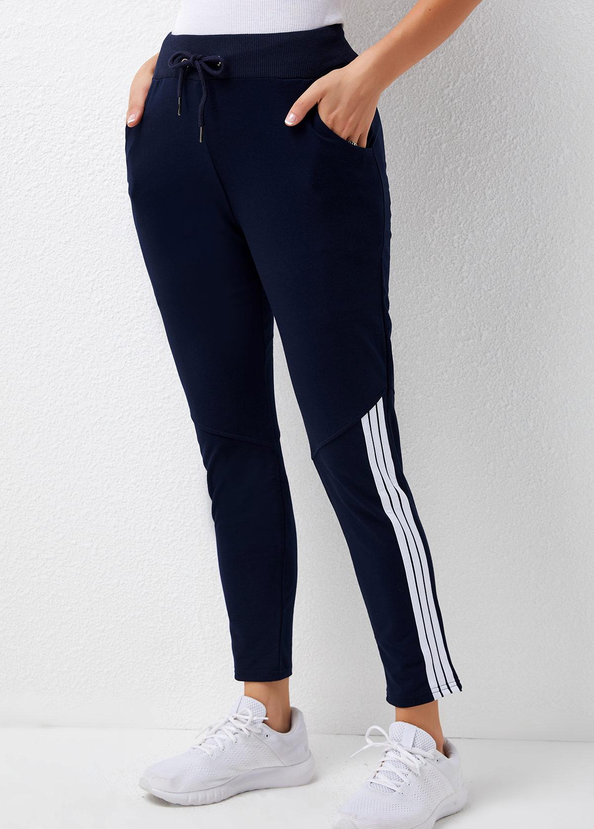 Contrast Striped Mid Waist Pocket Detail Pants