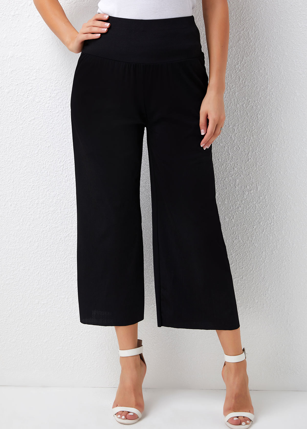 Solid Loose High Waisted Ribbed Pants
