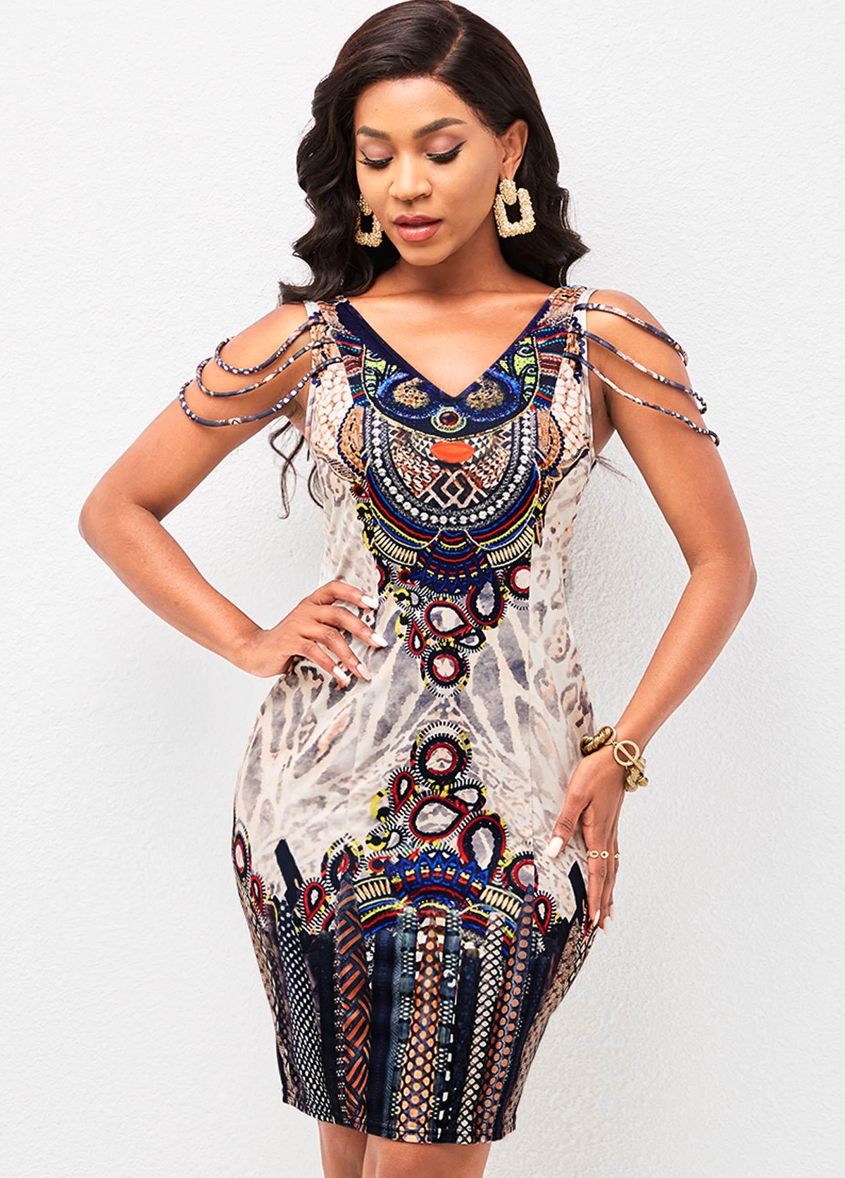 ROTITA V Back Tribal Print Bodycon Dress