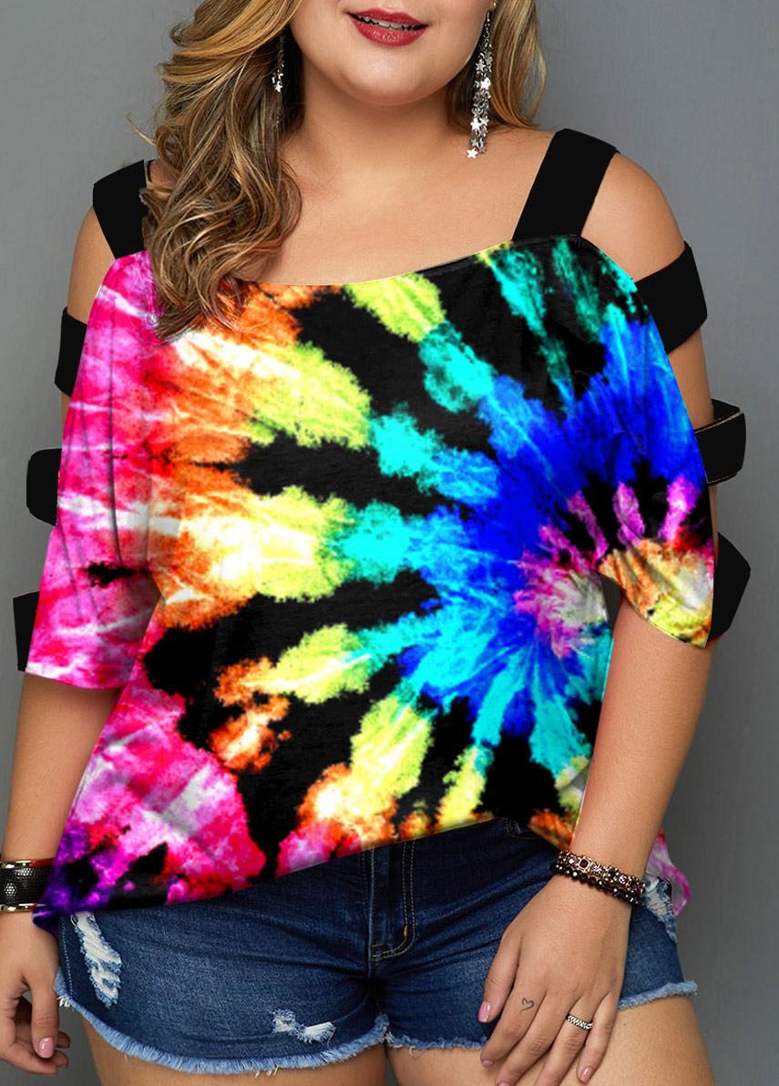 ROTITA Plus Size Tie Dye Print Multicolor T Shirt
