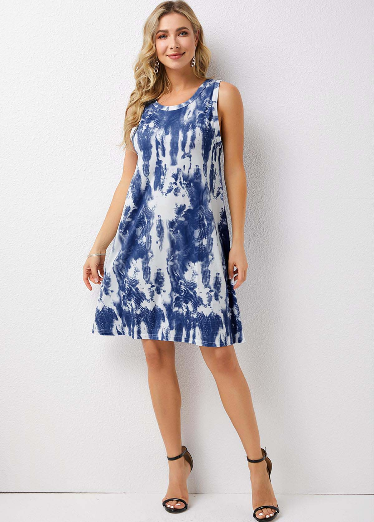 Sleeveless Tie Dye Print Round Neck Dress