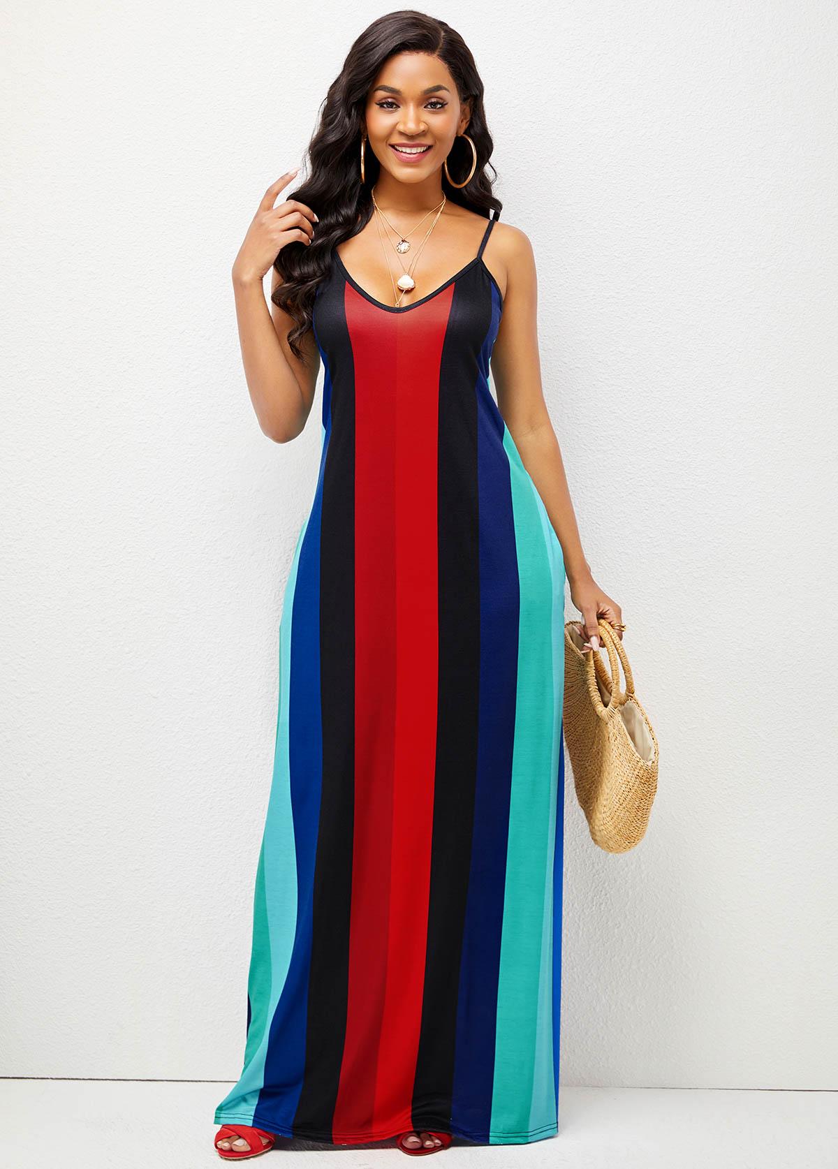 Striped Spaghetti Strap Pocket Maxi Dress