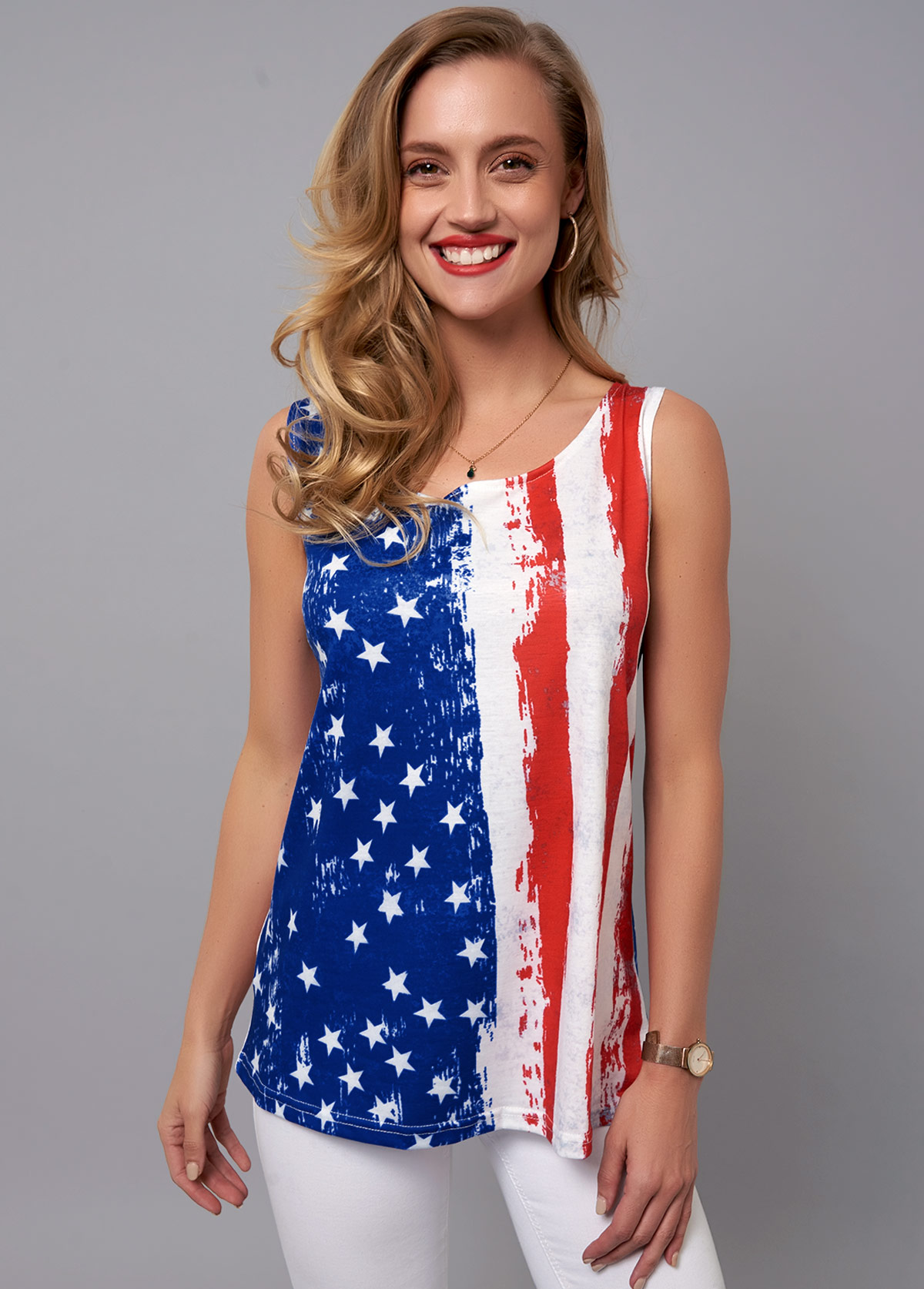 Round Neck American Flag Print Tank Top