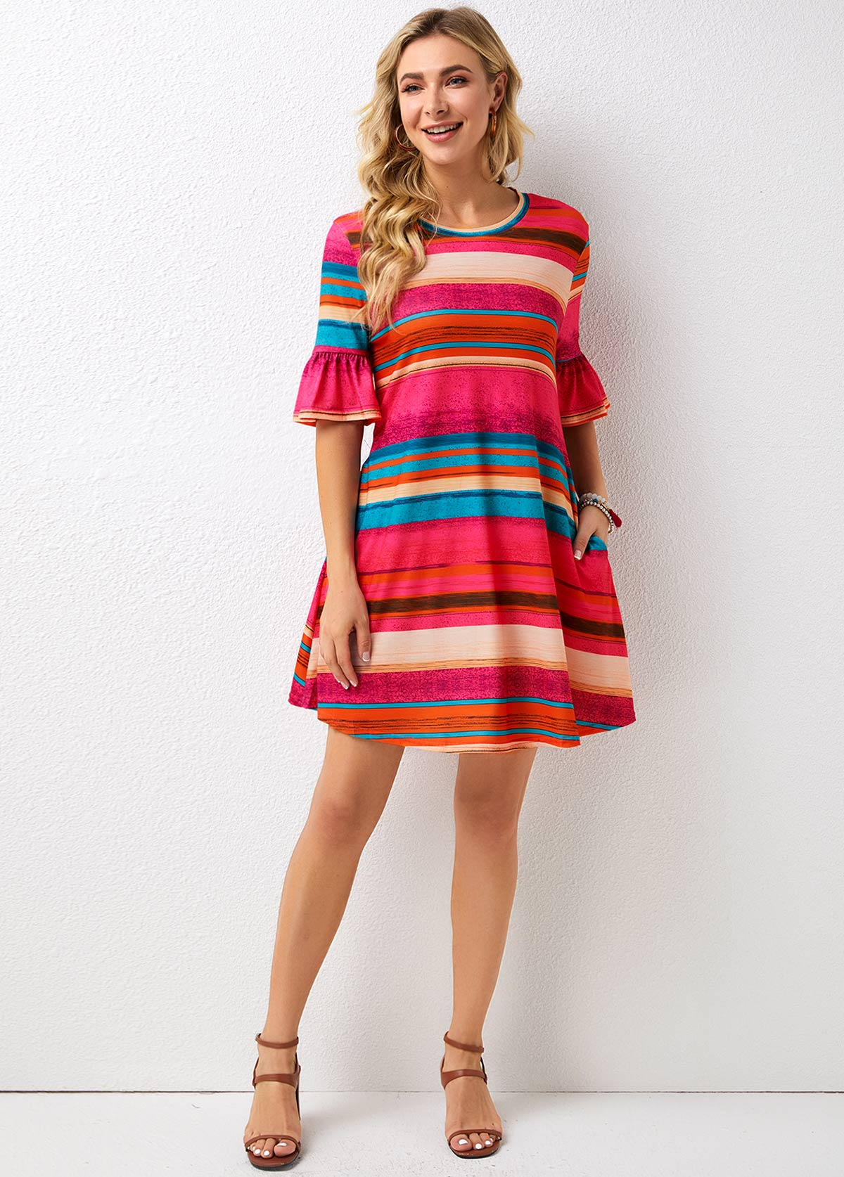 Pocket Detail Striped Half Sleeve Dress