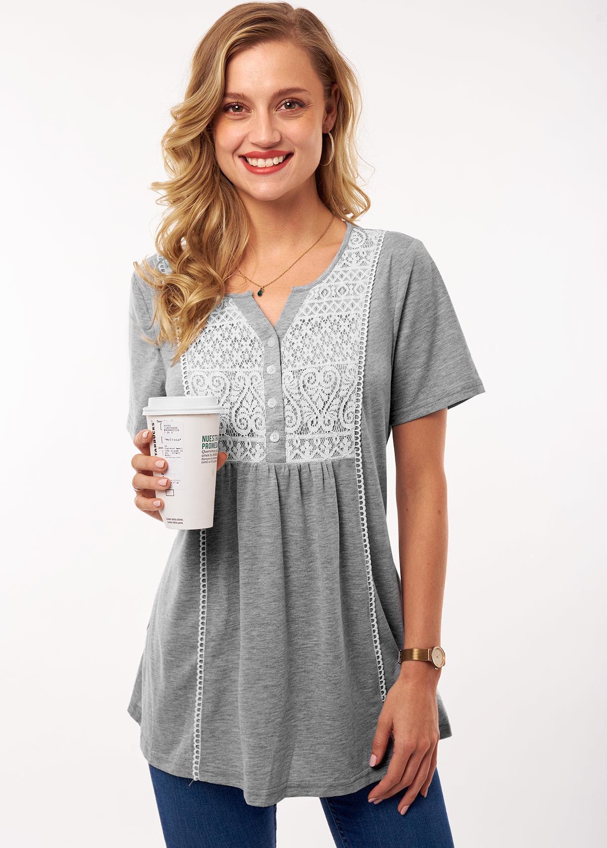 ROTITA Contrast Lace Stitching Split Neck T Shirt