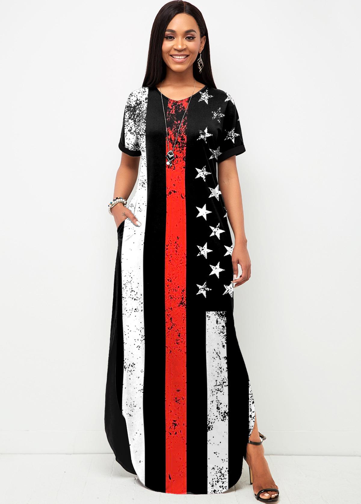 ROTITA Short Sleeve American Flag Print Side Slit Dress