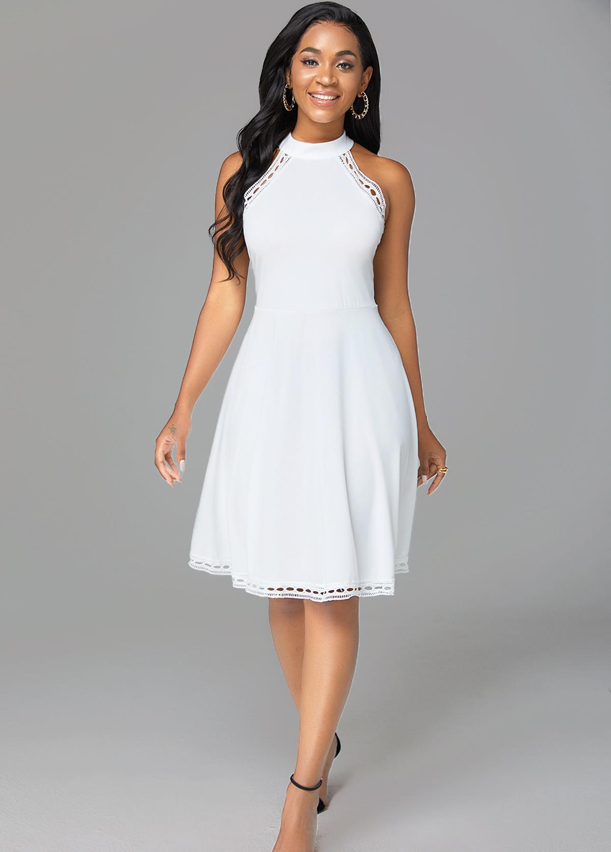 Sleeveless Pierced Mock Neck Solid Dress