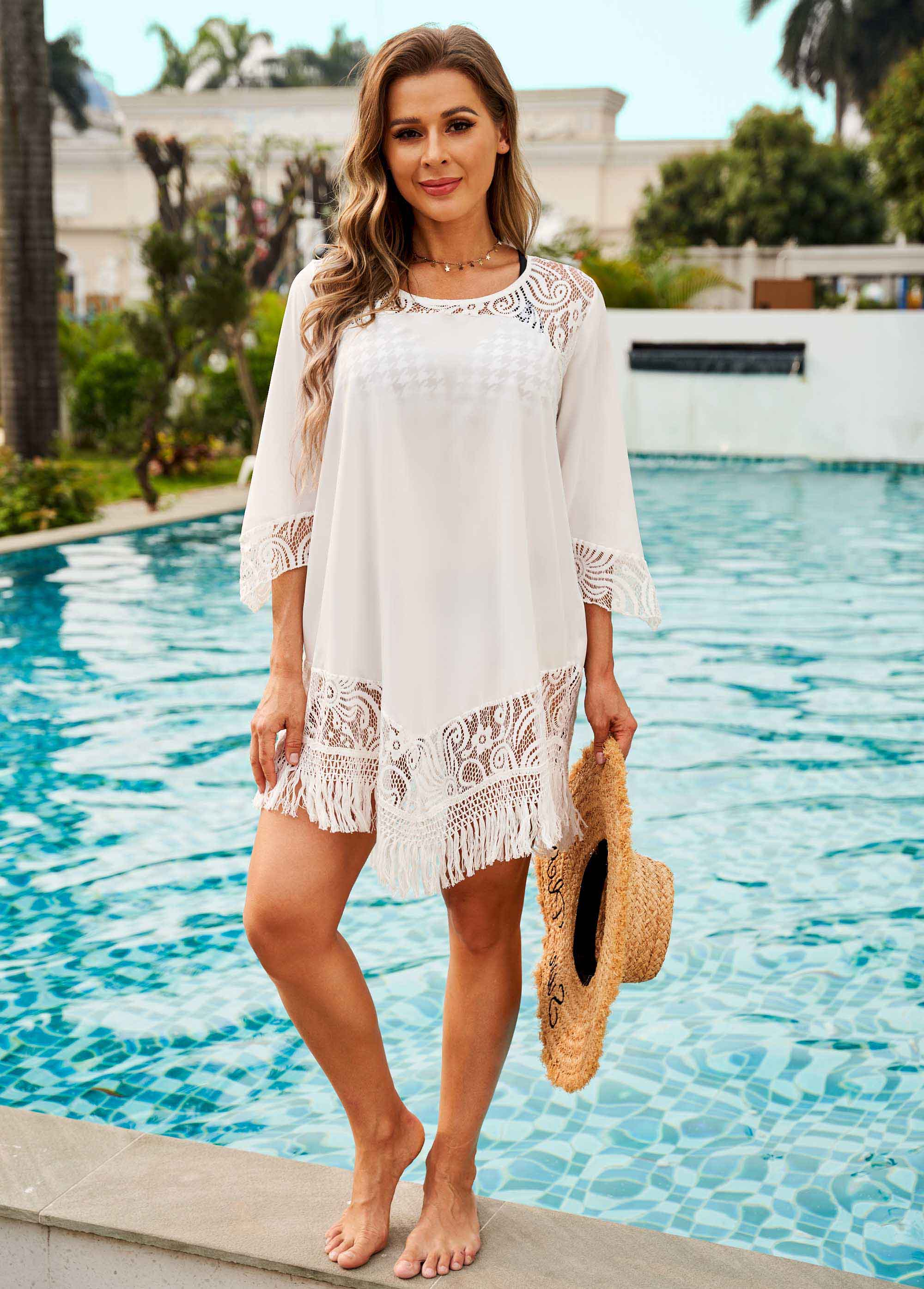 Lace Stitching Tassel Round Neck Cover Up