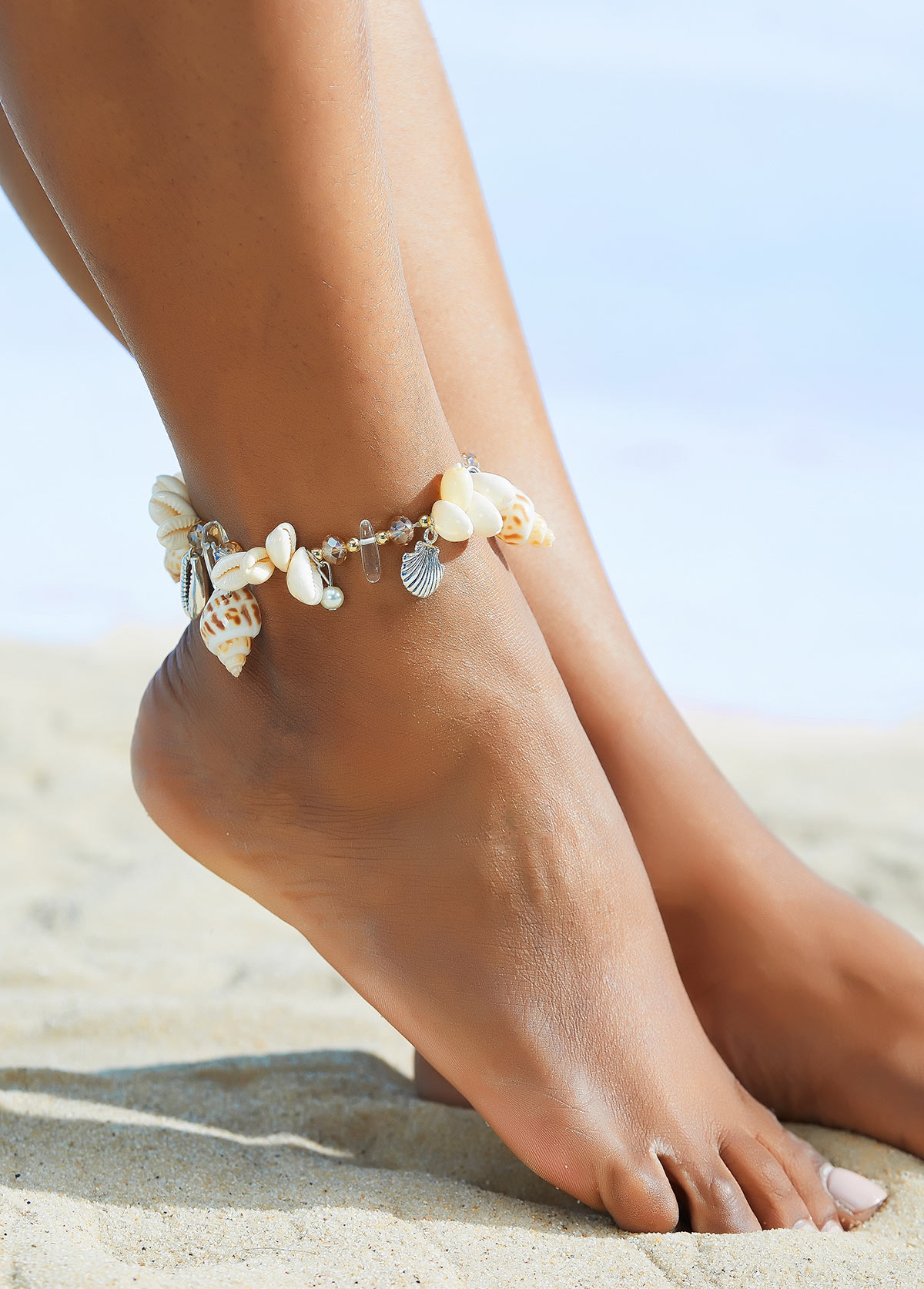 Silver Pearl Shell and Conch Detail Anklet