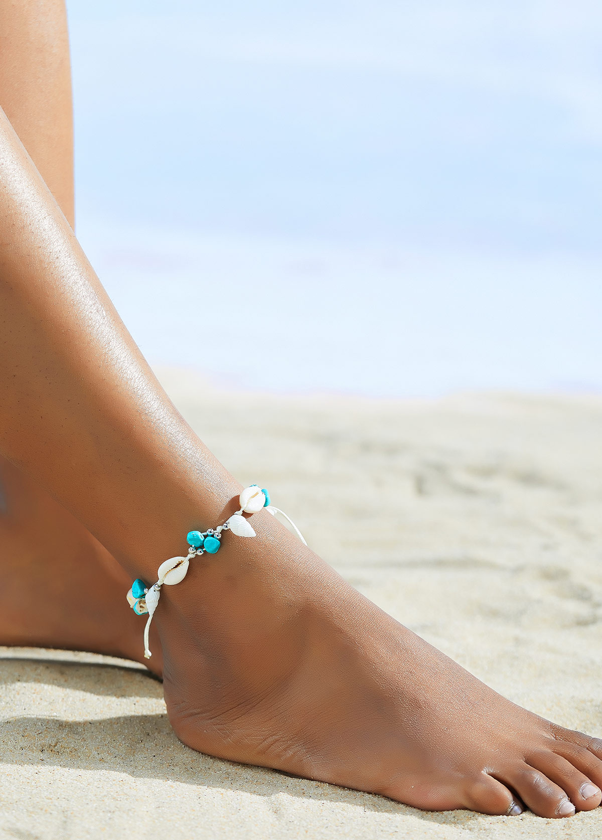 Turquoise Conch Detail Silver Beads Anklet