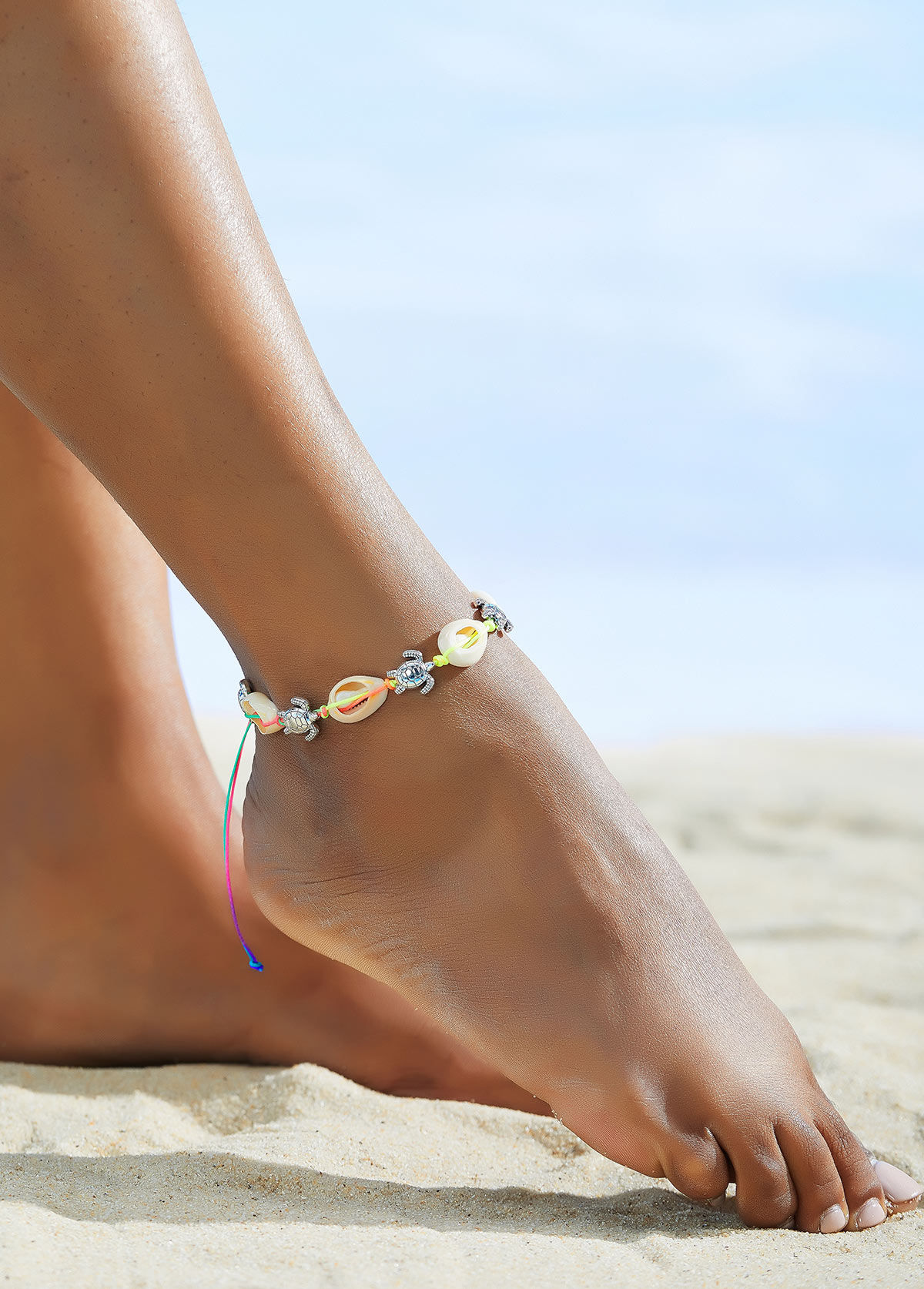 Weave Shell and Turtle Detail Anklet