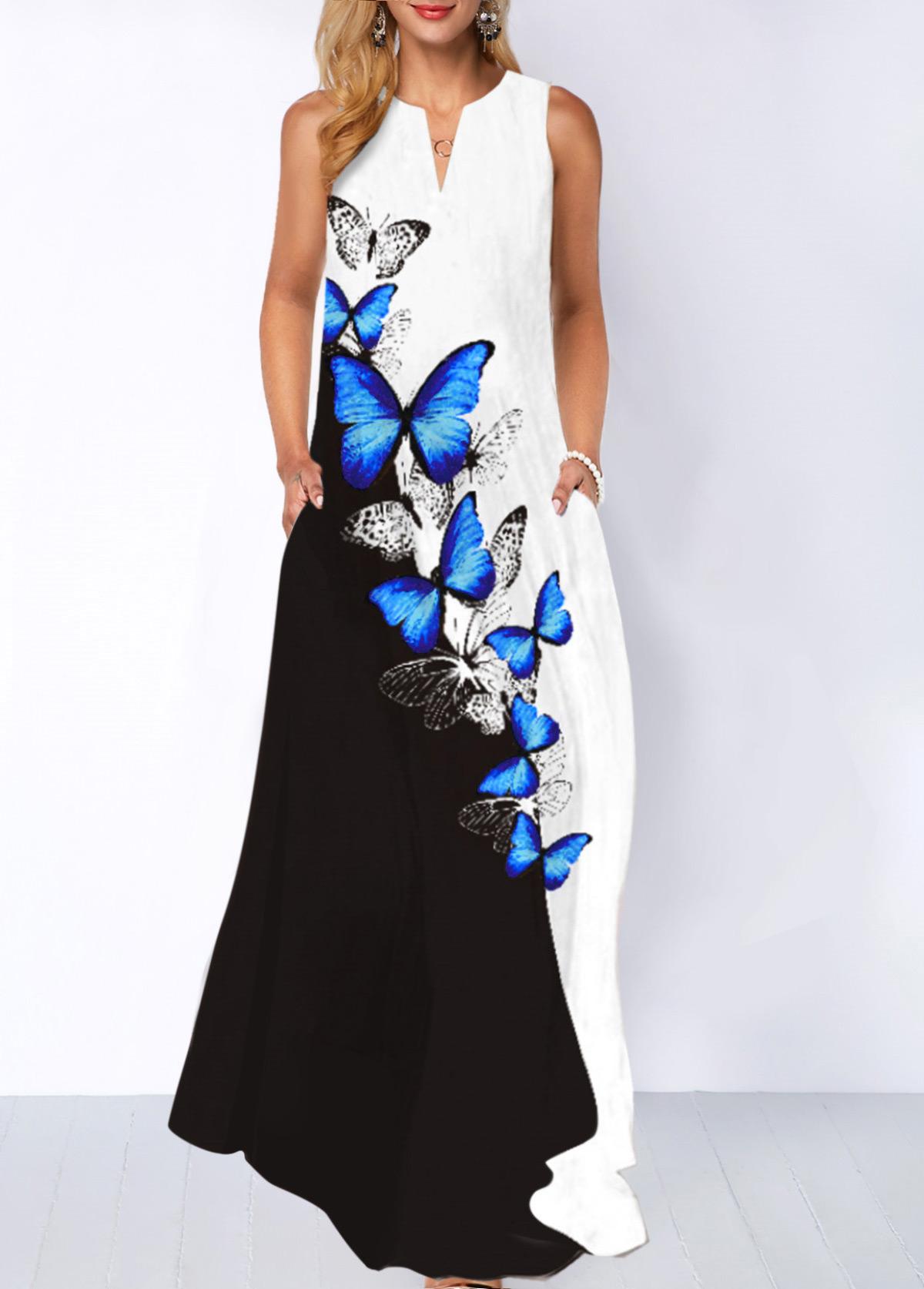 Split Neck Butterfly Print Pocket Dress