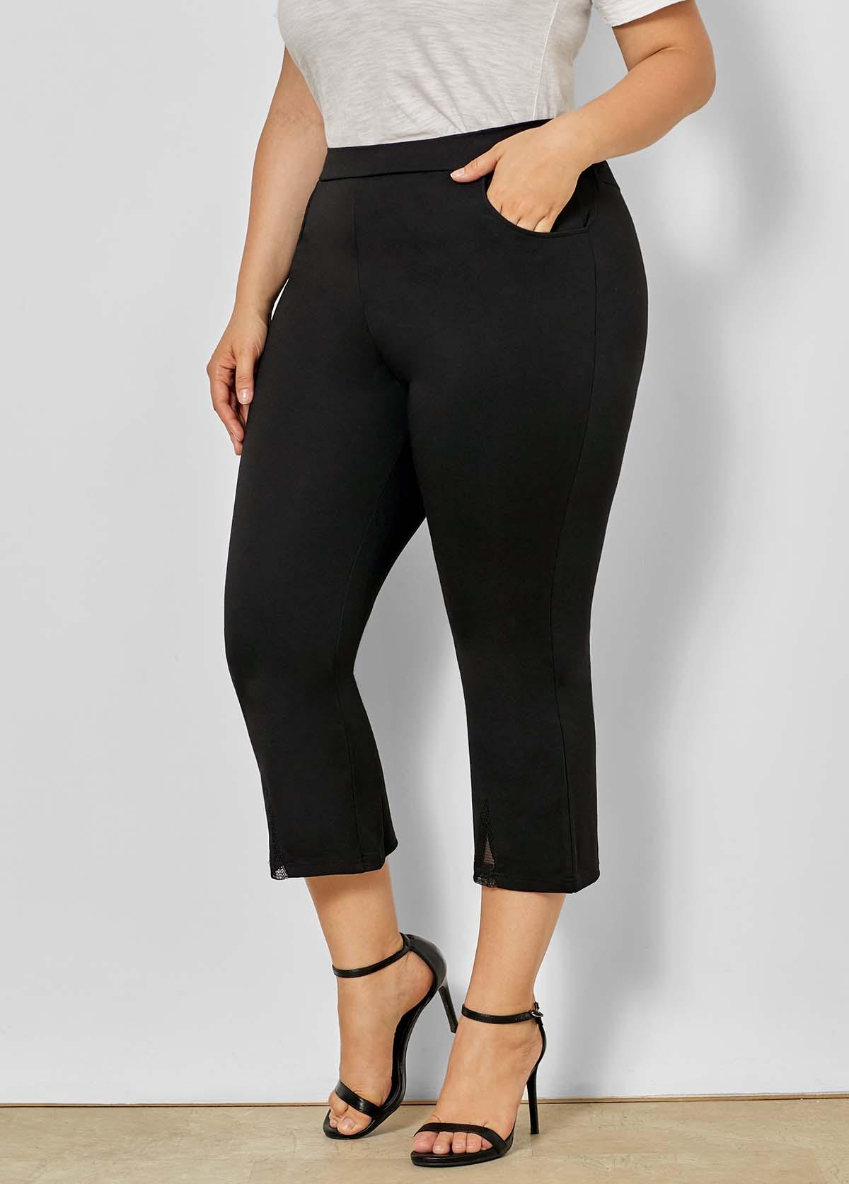 Mid Waist Plus Size Mesh Stitching Pants