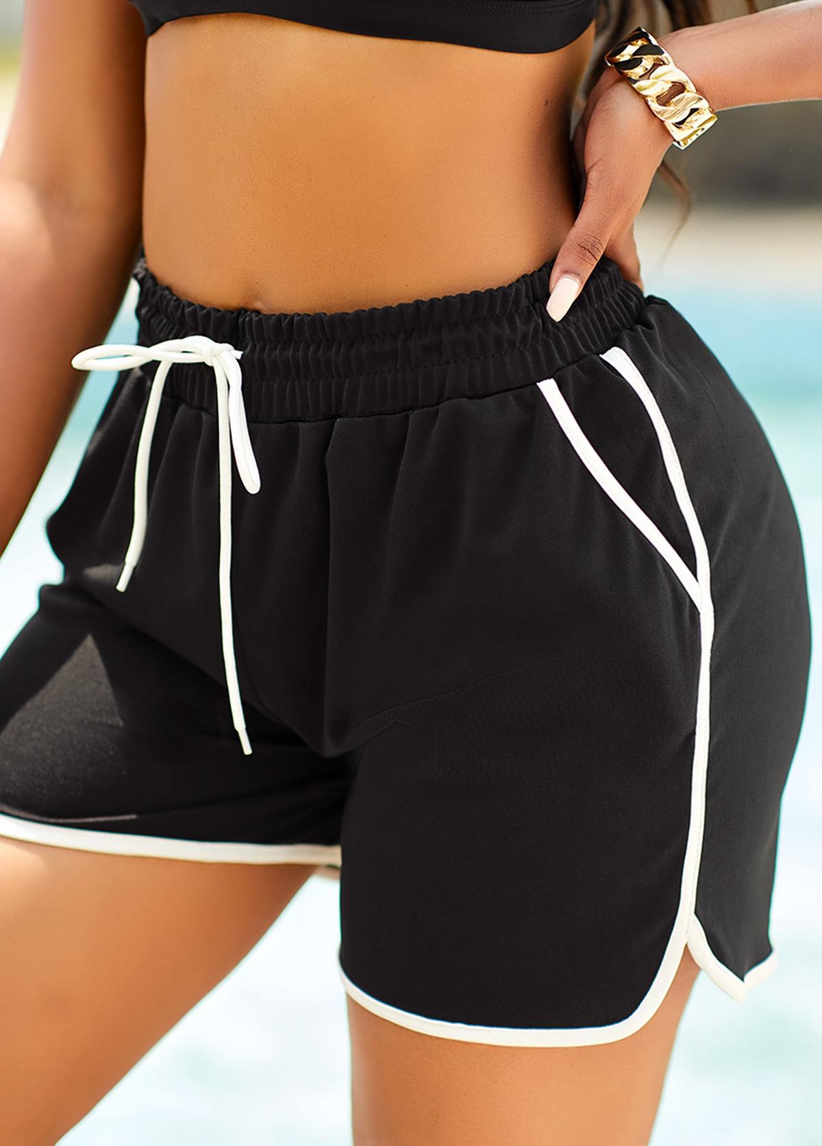 Contrast Stitch Drawstring Waist Sports Bottom