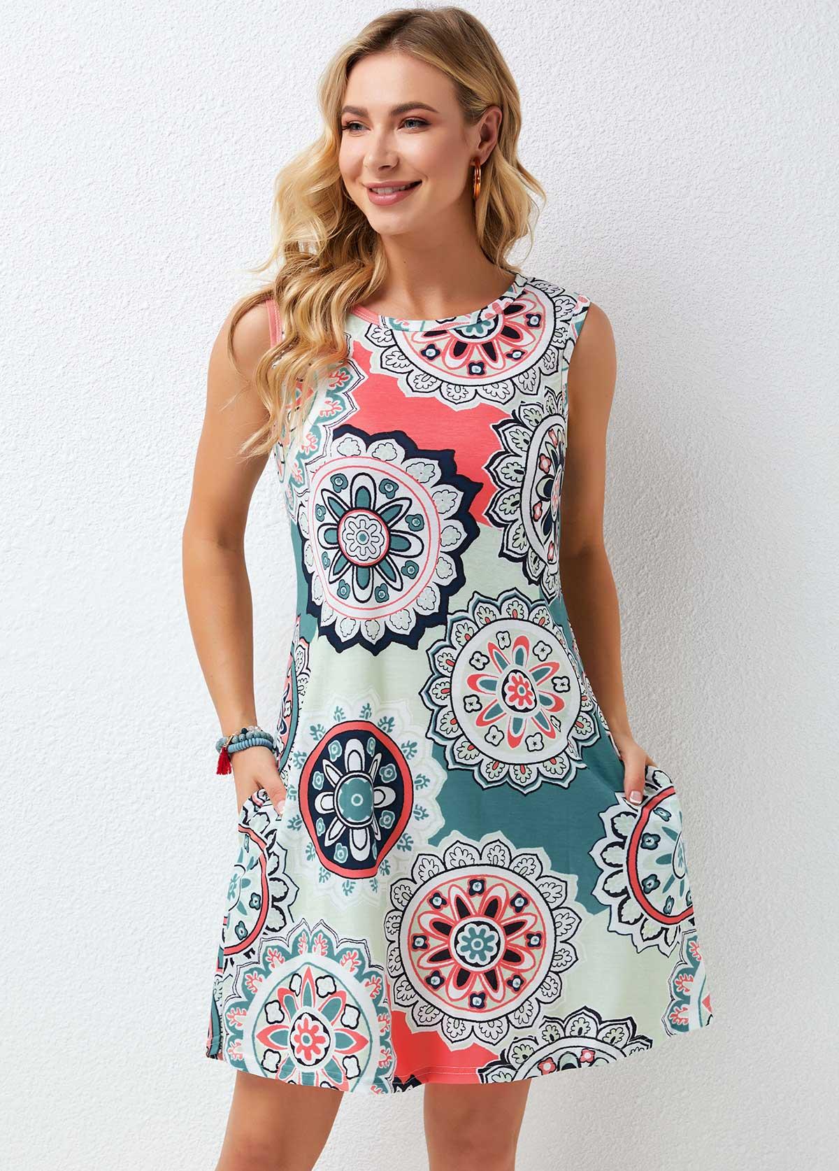 Round Neck Printed Wide Strap Dress