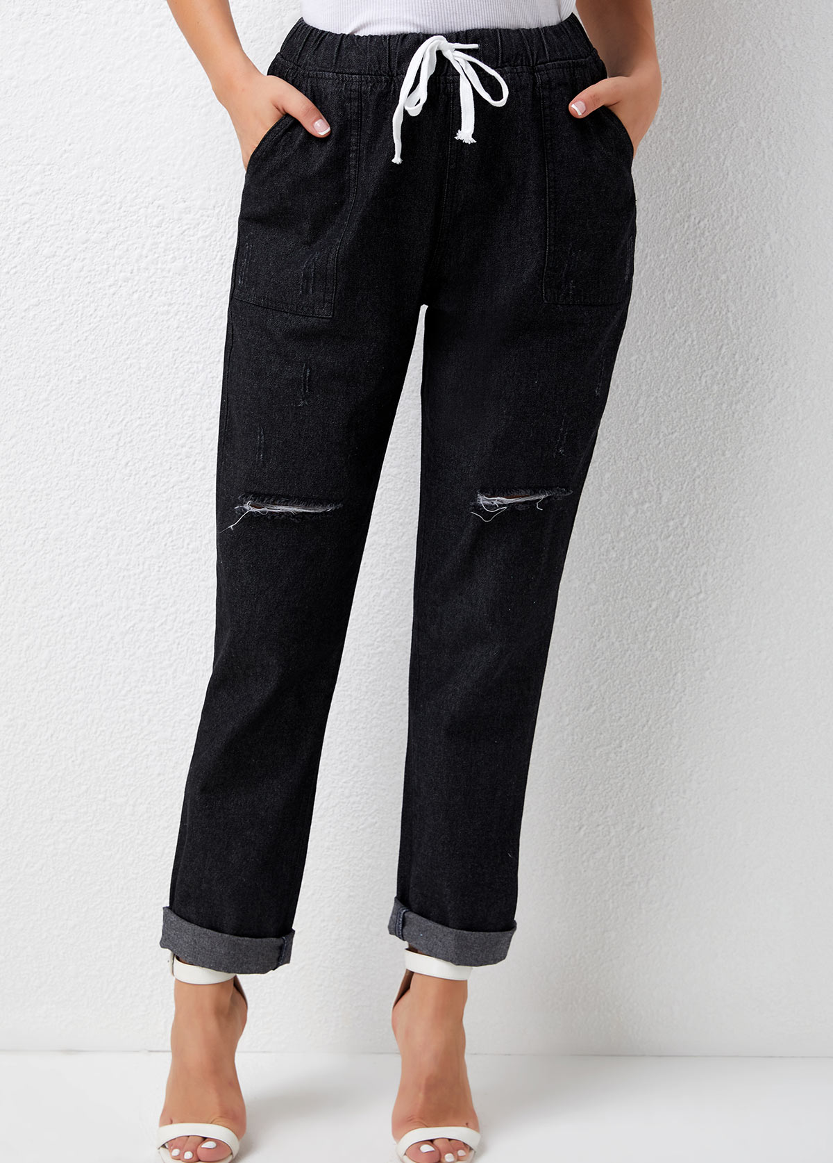 Shredded Drawstring Waist Pocket Solid Pants